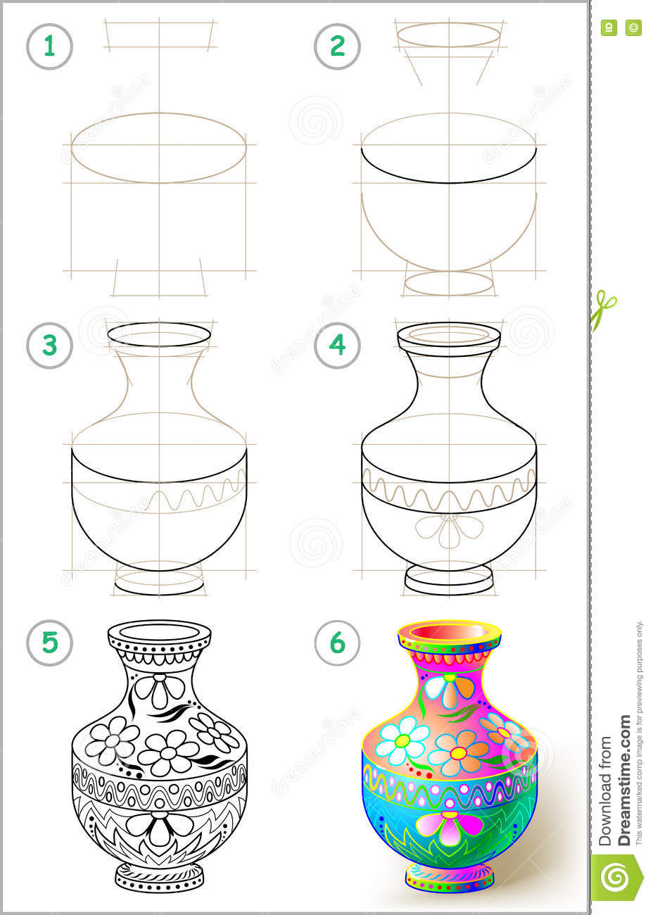 Page shows how to learn step by step to draw beautiful for How to draw the flower of life step by step