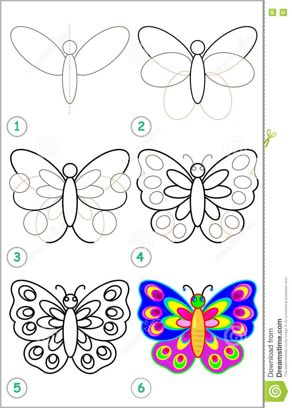 page shows how to learn step by step to draw a butterfly stock