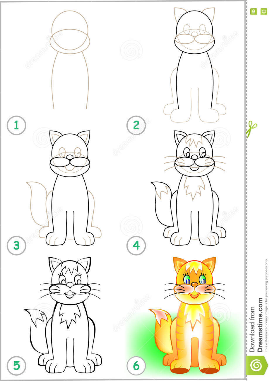 Page shows how to learn step by step to draw a cat