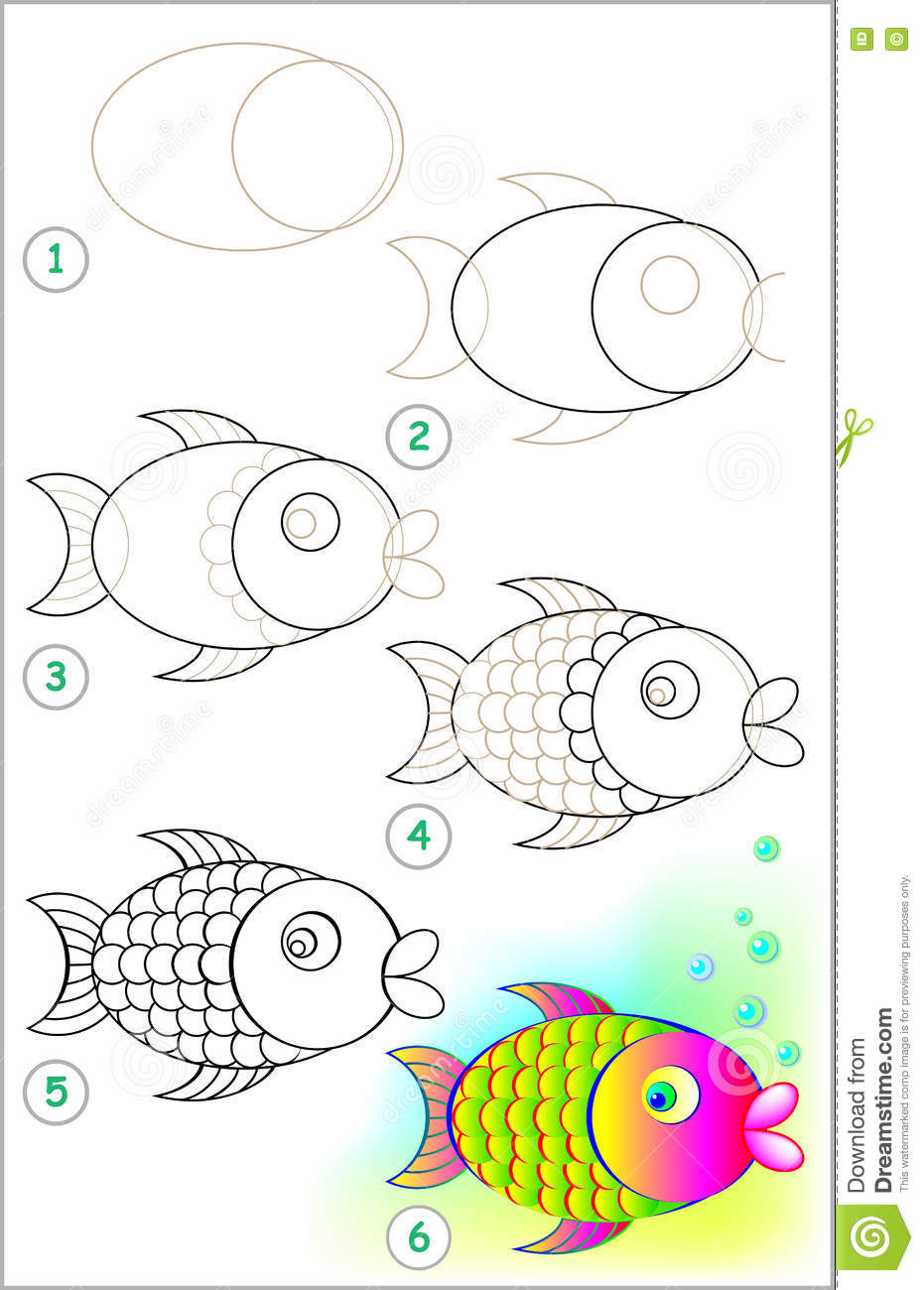Page Shows How To Learn Step By Step To Draw A Fish Stock Vector