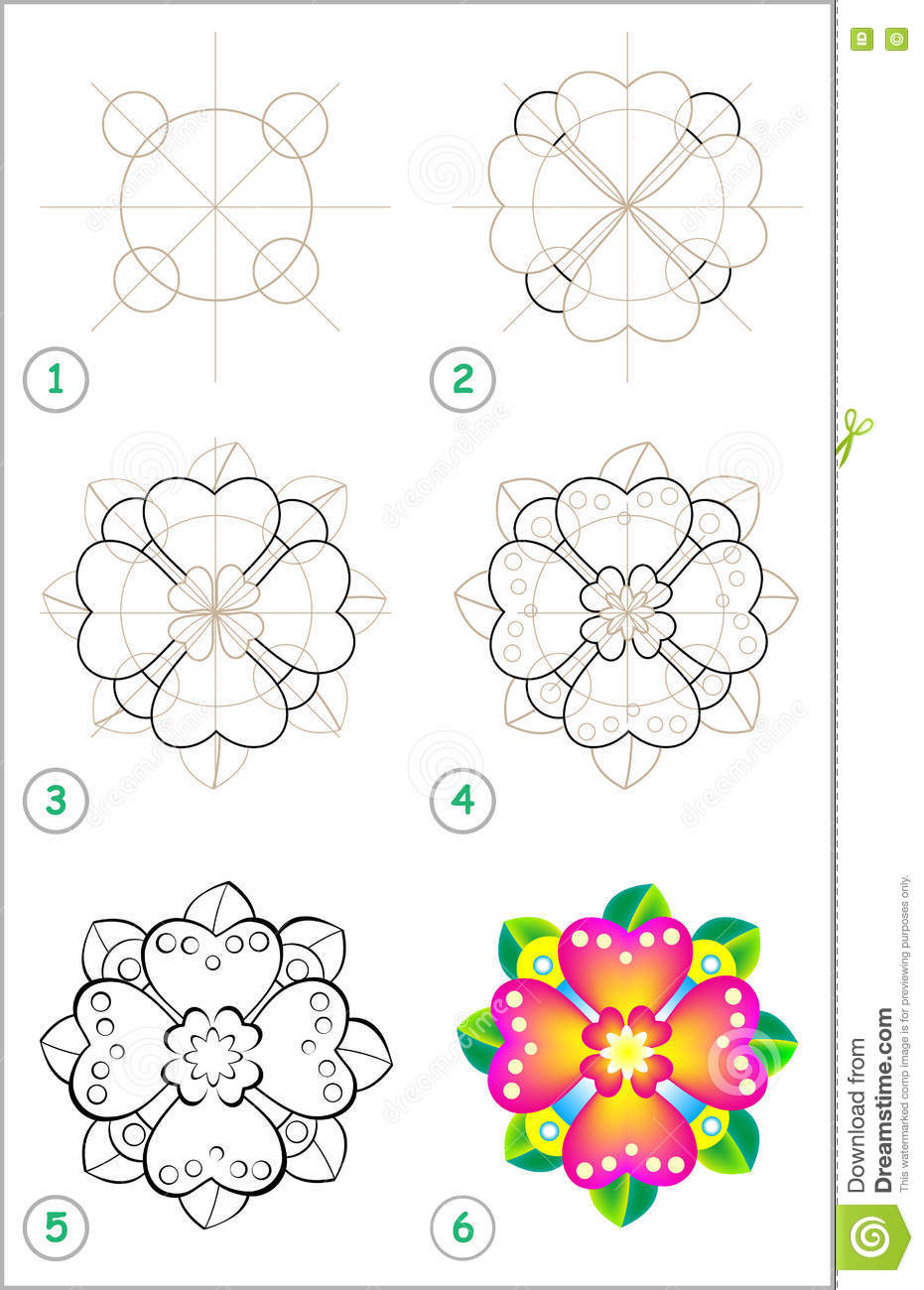 Page Shows How To Learn Step By Step To Draw A Flower