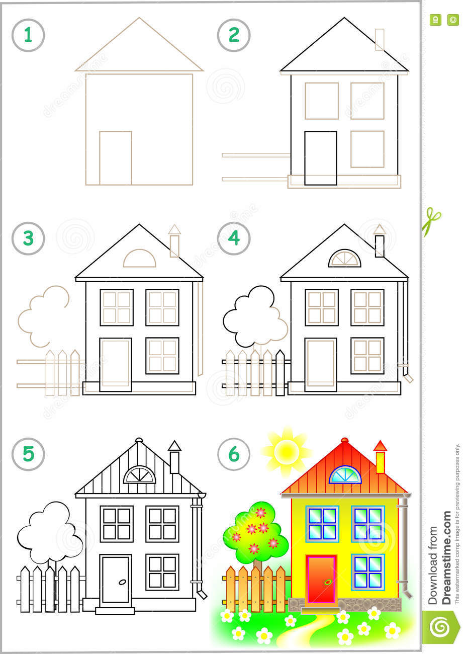 Page shows how to learn step by step to draw a house
