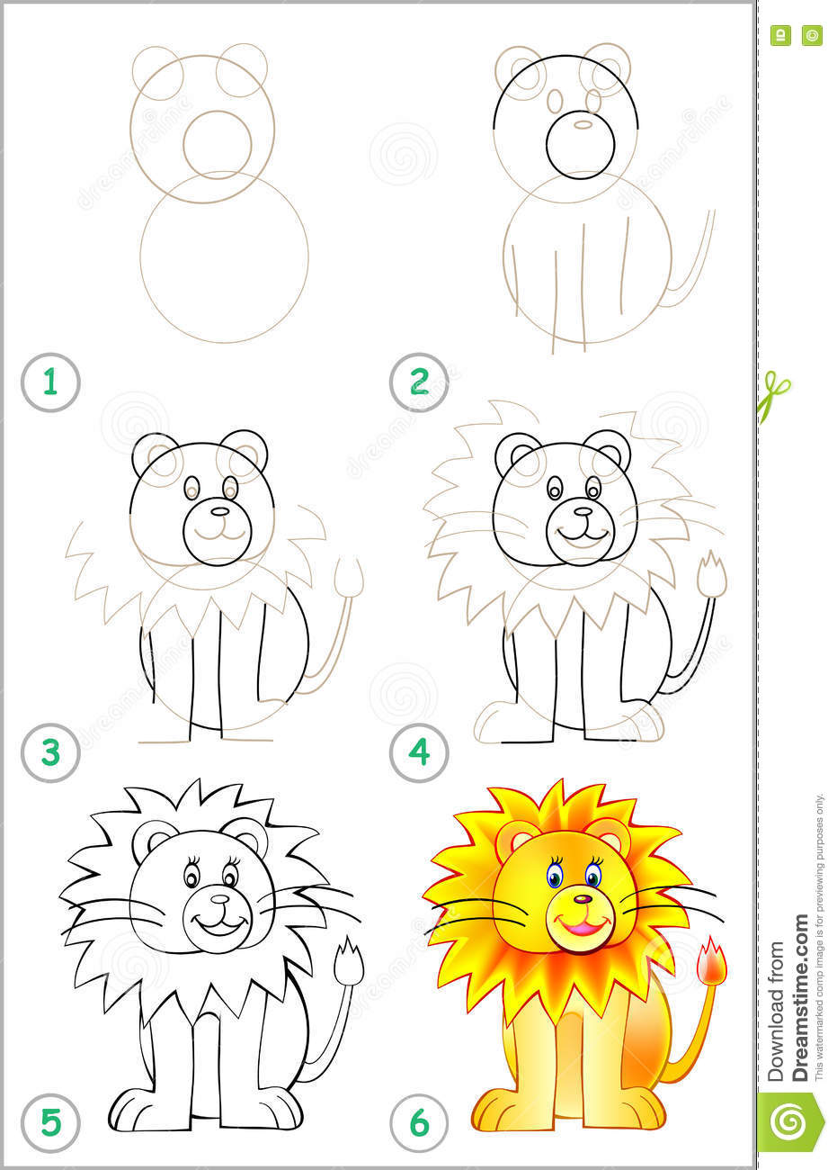 Page shows how to learn step by step to draw a lion stock for Learn drawing online step by step
