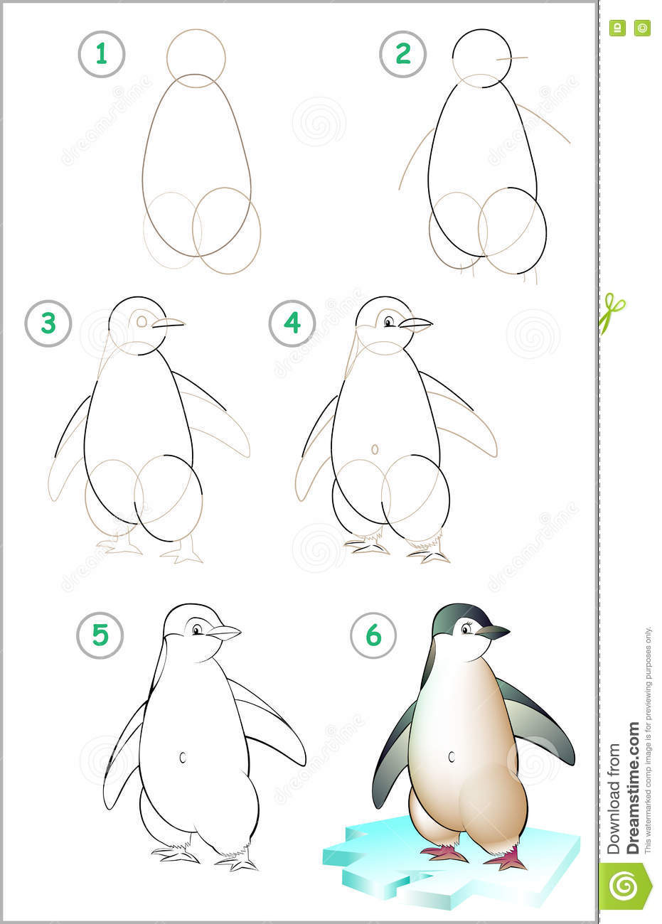 Page Shows How To Learn Step By Draw A Penguin