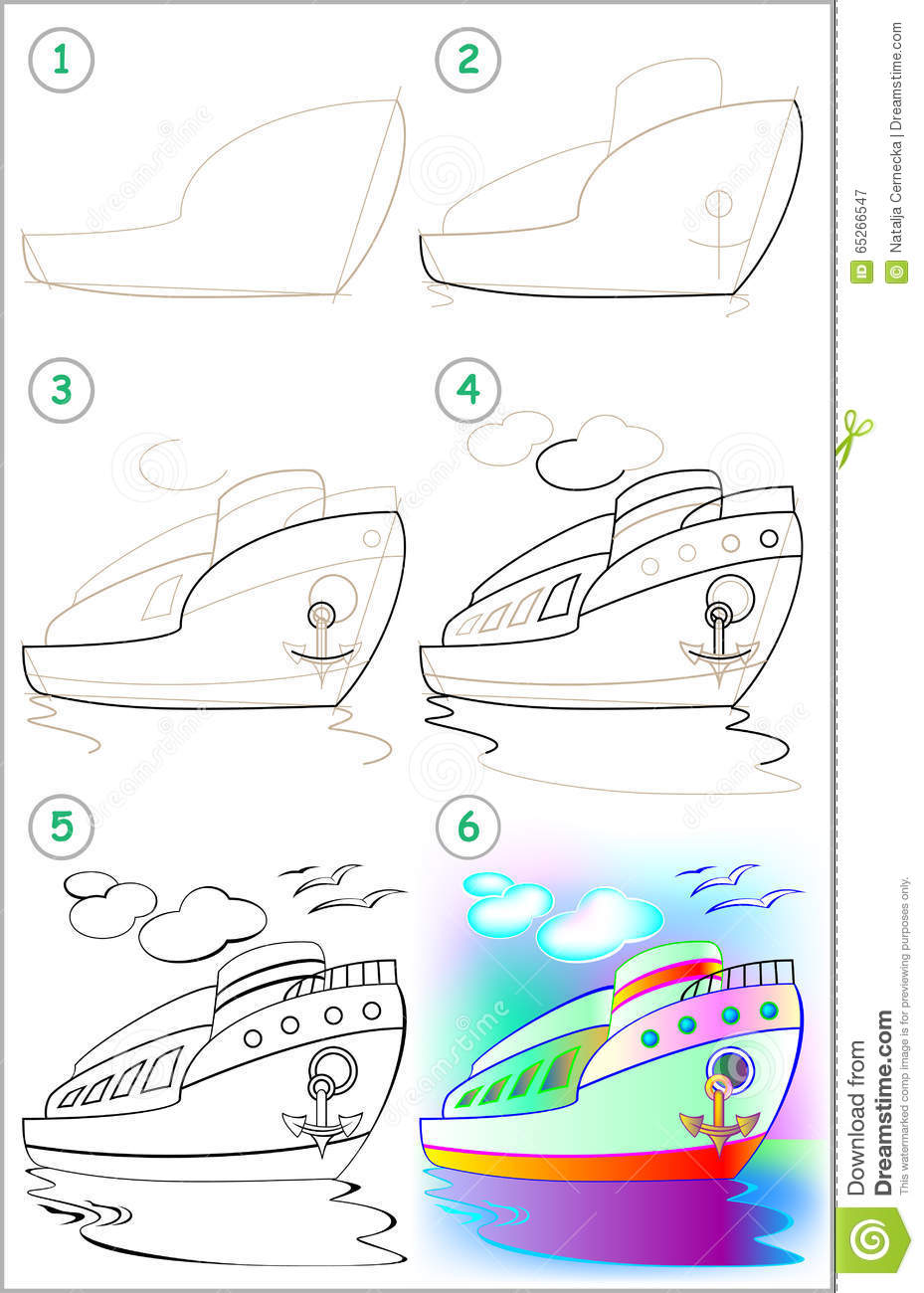 page shows how to learn step by step to draw a ship