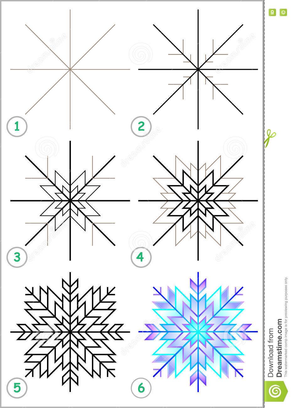 Uncategorized Draw A Snowflake page shows how to learn step by draw a snowflake stock royalty free vector