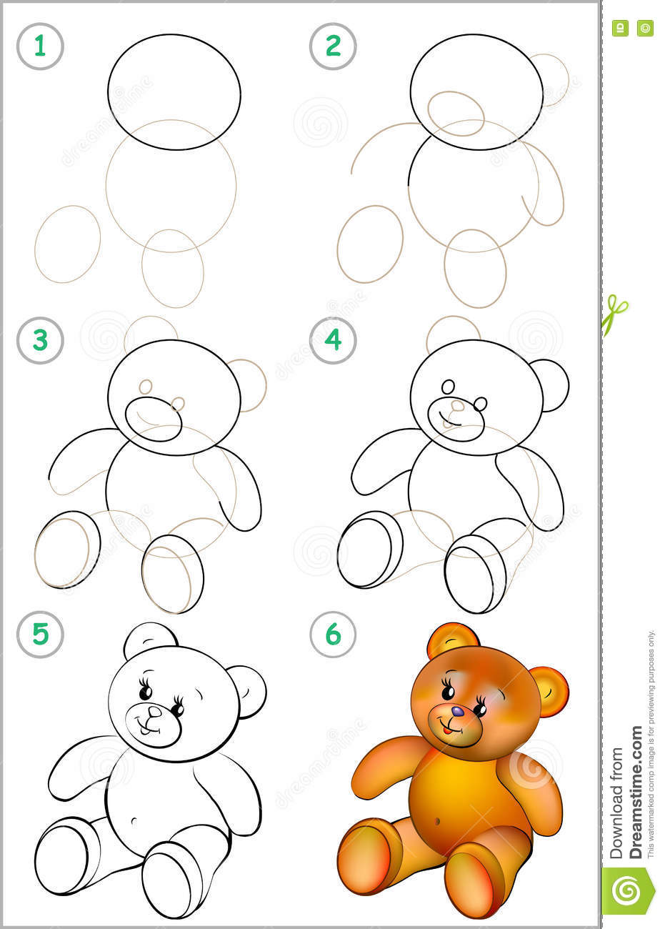 Page Shows How To Learn Step By Step To Draw A Teddy Bear Stock
