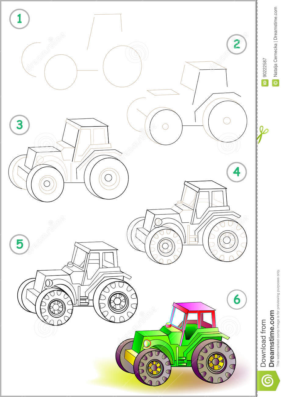 page shows how to learn step by step to draw a toy tractor stock vector illustration of. Black Bedroom Furniture Sets. Home Design Ideas