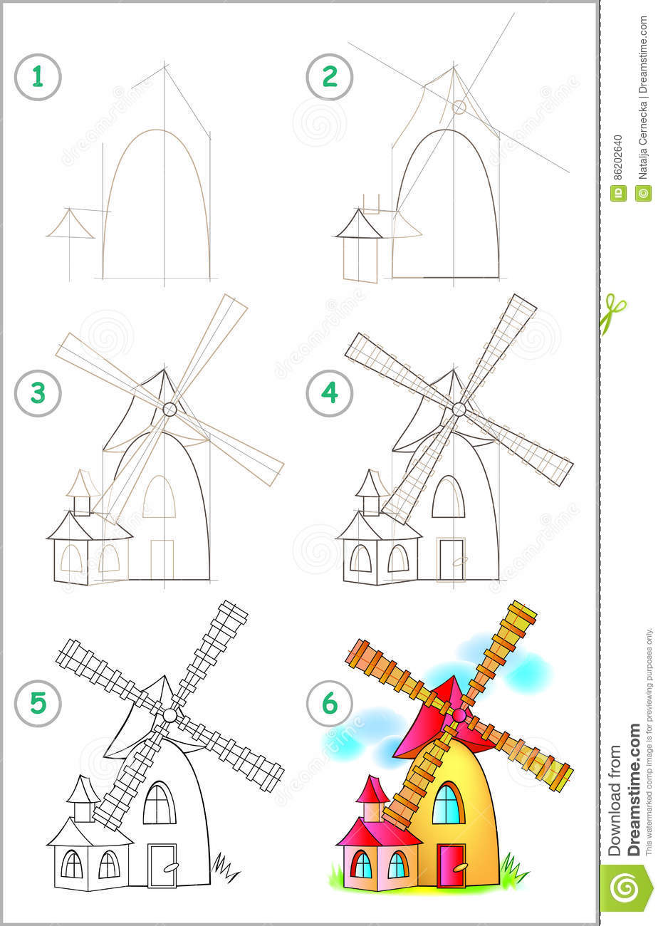 page shows how to learn step by step to draw a windmill developing children skills for drawing and coloring