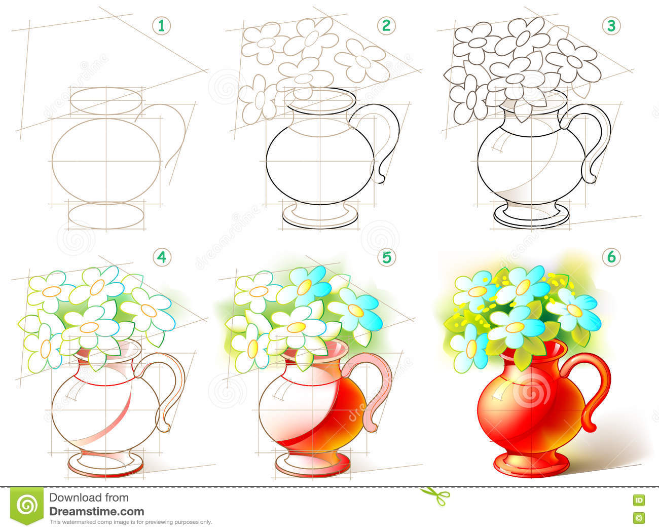 Step By Step How To Draw Flowers How To Draw A Flower Vase With Flowers