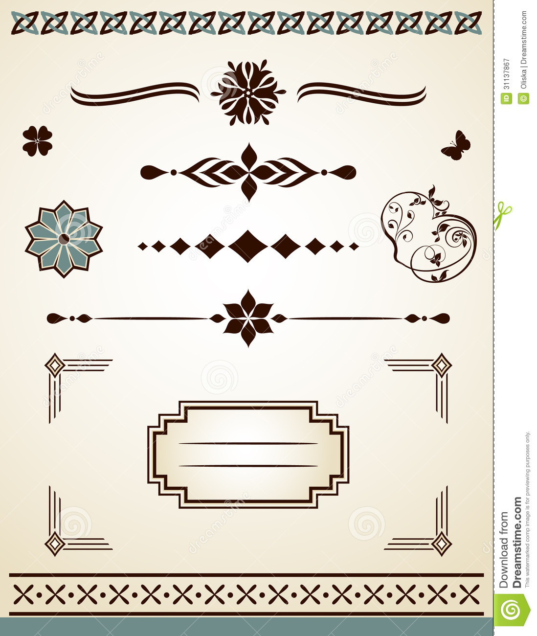Page Or Text Borders, Frame, Corner And Divider Stock Vector ...