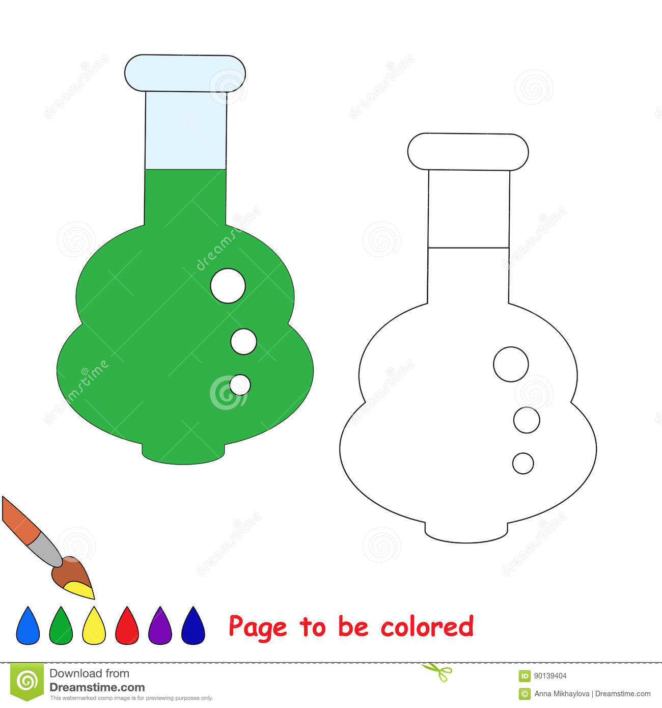 Page To Be Colored, Simple Education Game For Kids. Stock Vector ...
