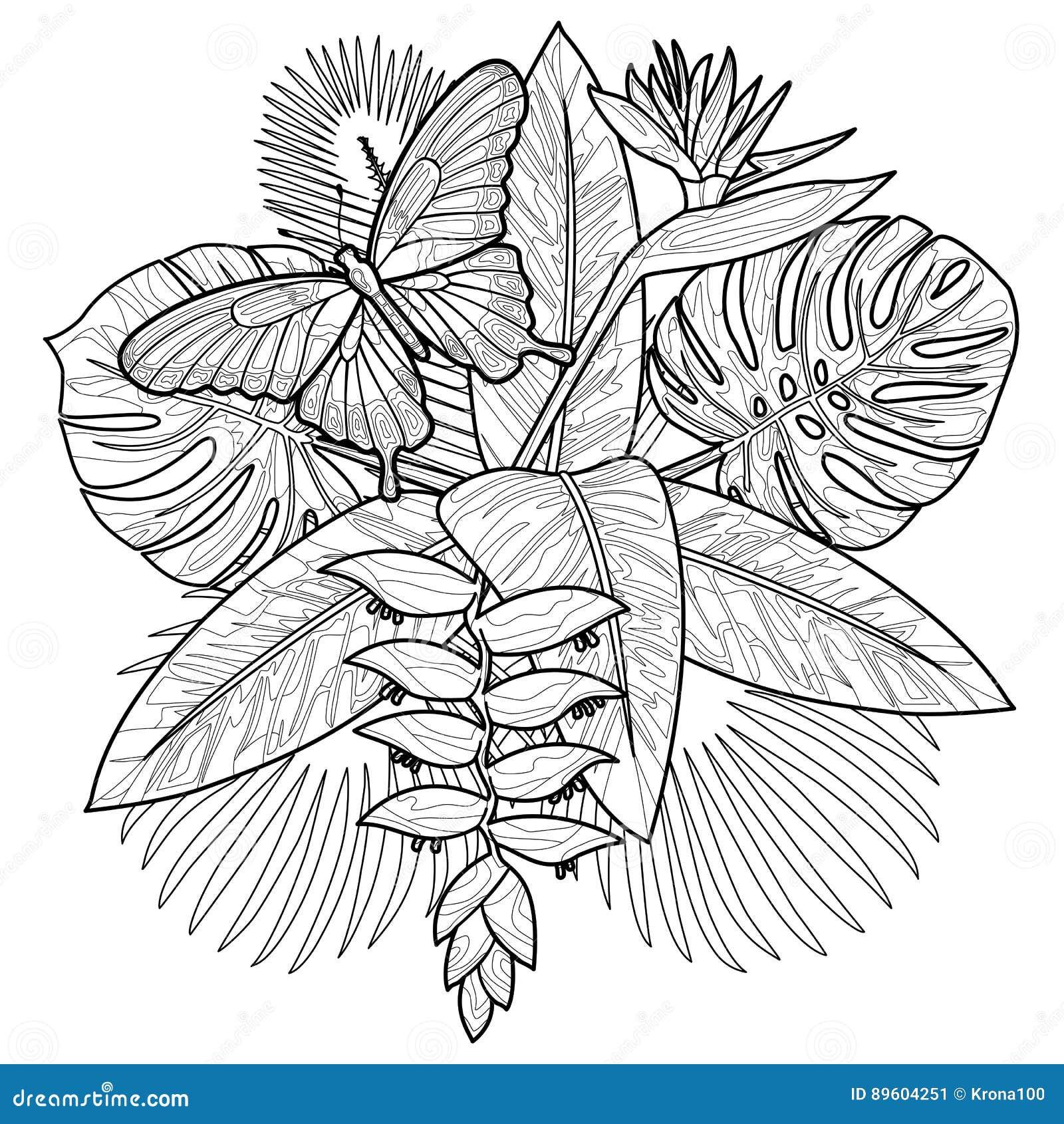 Page tropicale de Cororing de bouquet