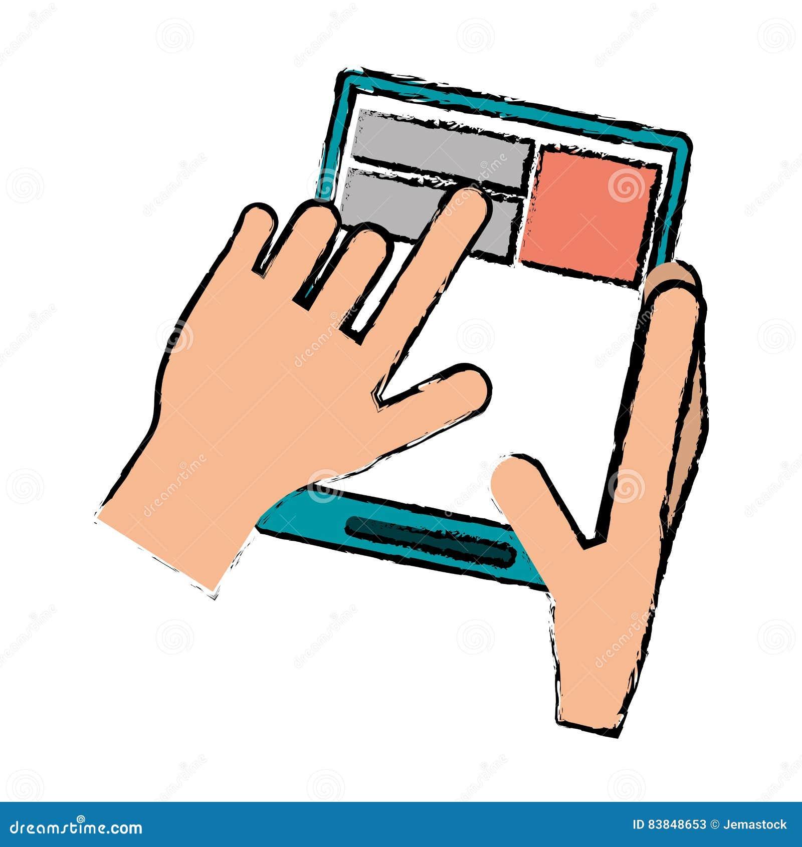 page web de tablette tactile de main de dessin illustration de vecteur image 83848653. Black Bedroom Furniture Sets. Home Design Ideas