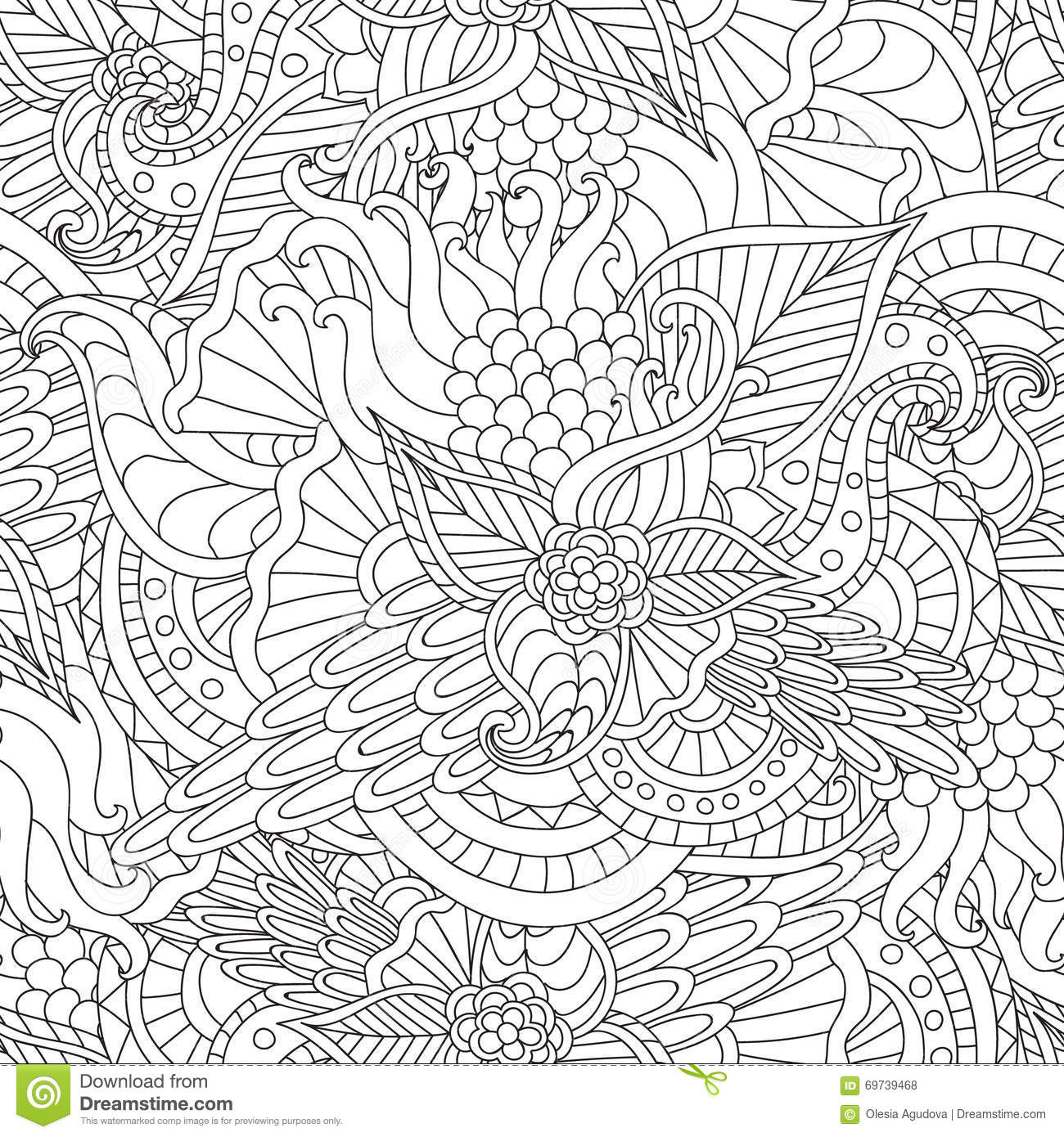Pages For Adult Coloring Book Hand Drawn Artistic Ethnic Ornamental