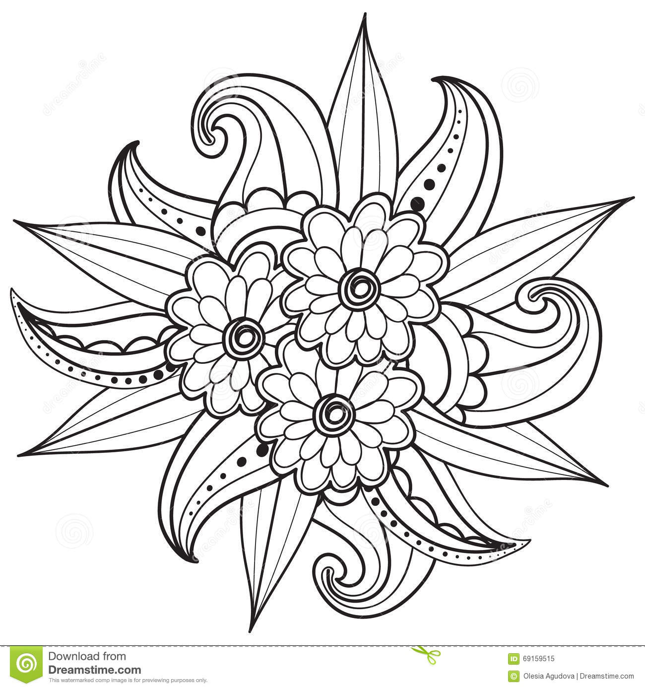 pages for adult coloring book hand drawn ornamental patterned floral frame in doodle style - Coloringbook Pages