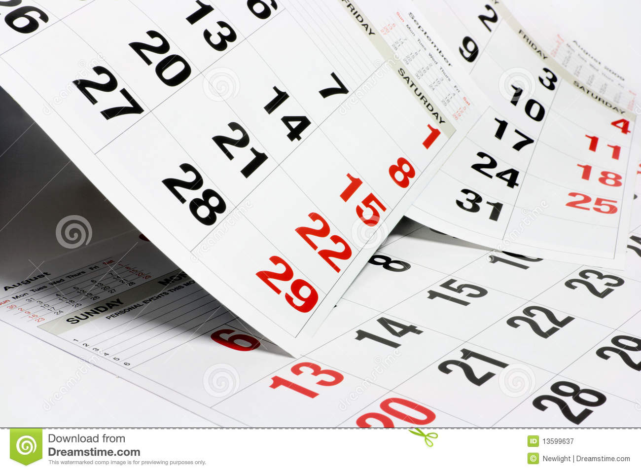 Pages Of Calendar Royalty Free Stock Photography - Image: 13599637