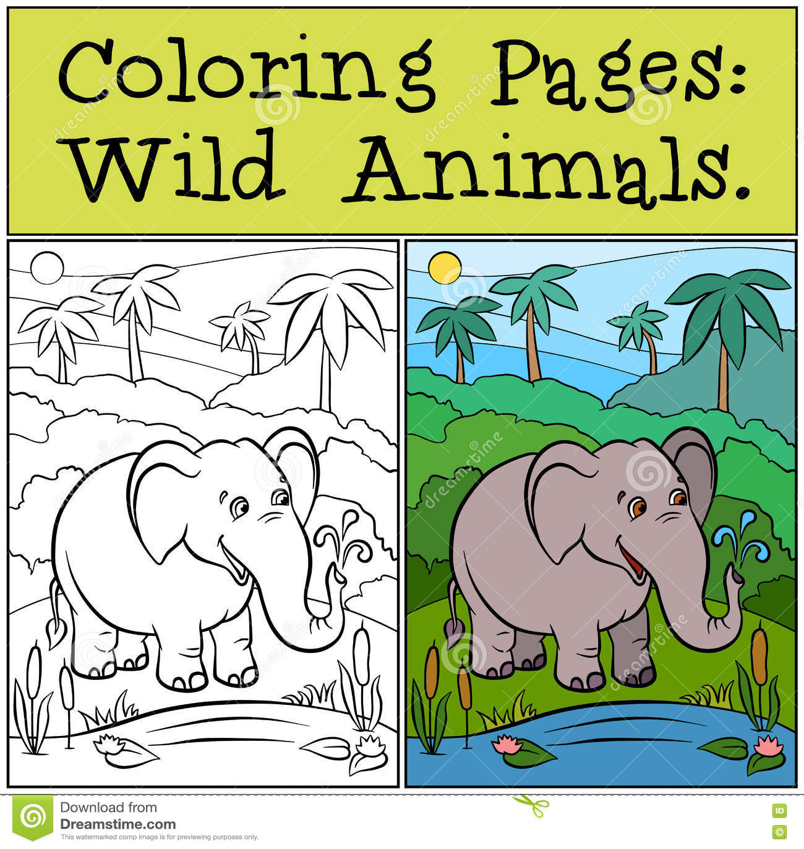 Pages de coloration : Animaux sauvages Éléphant mignon