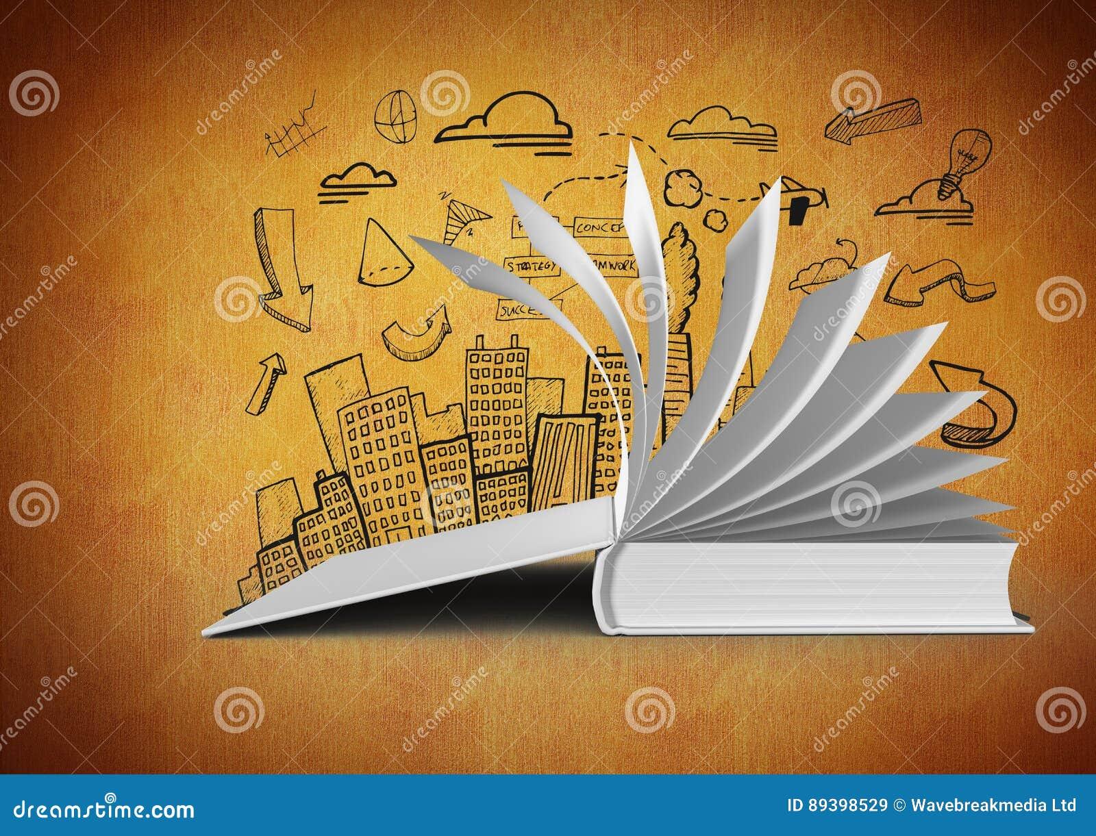 Pages De Rotation Ouvertes Du Livre 3d Sur Le Fond Orange