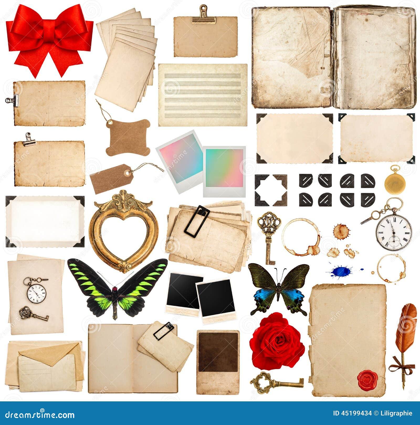 Pages de vieux livre, feuilles de papier, coin et cadres de photo