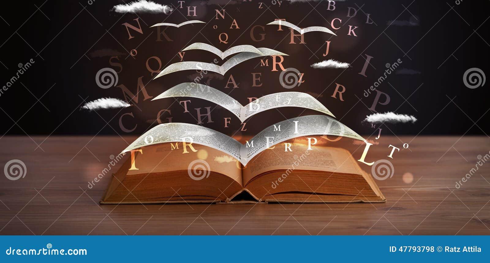 pages et lettres rougeoyantes volant hors d 39 un livre illustration stock illustration du nuage. Black Bedroom Furniture Sets. Home Design Ideas