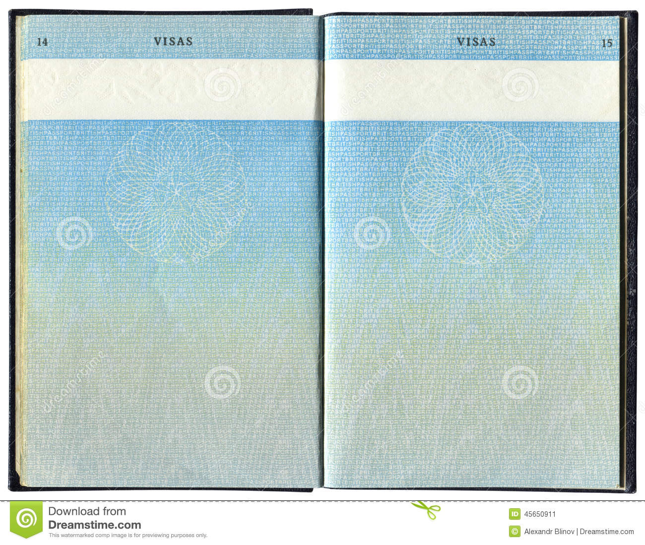 Photo Page: Pages For Visa Marks In The British Passport Stock Image