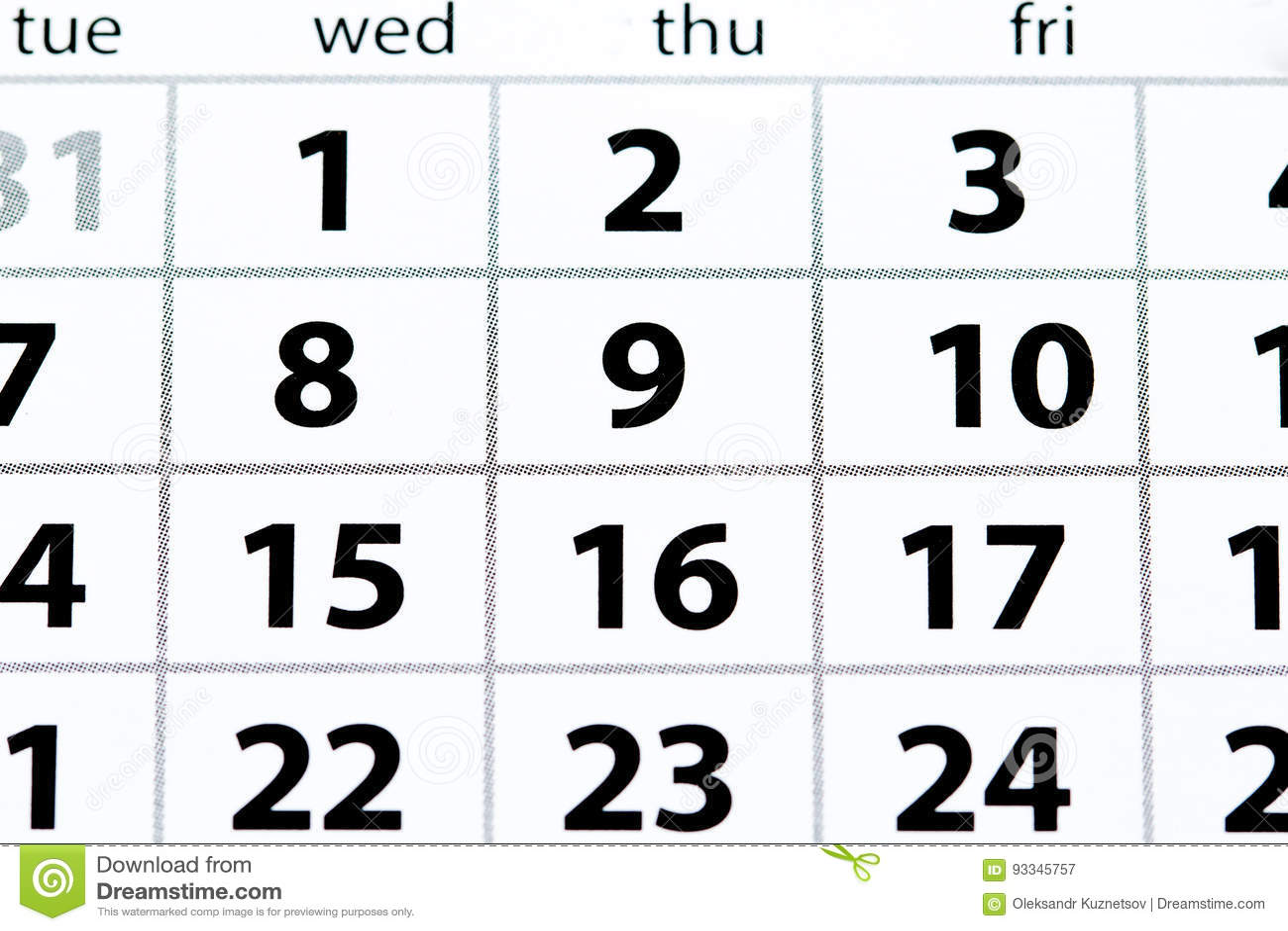 Pagina bianca del calendario con la vista superiore delle date