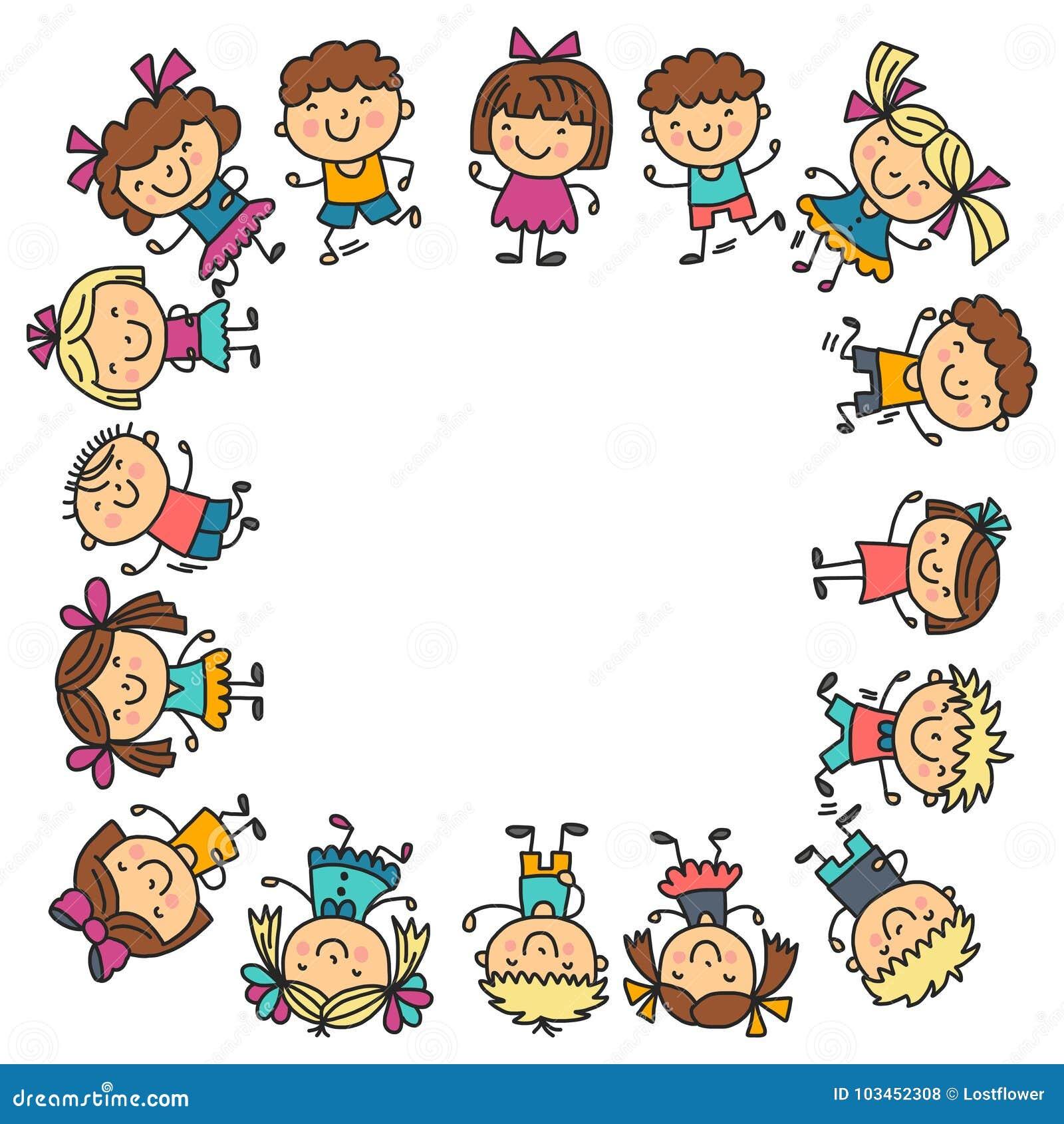 Pagina Con I Bambini Scuola Asilo Bambini Felici Creatività Icone