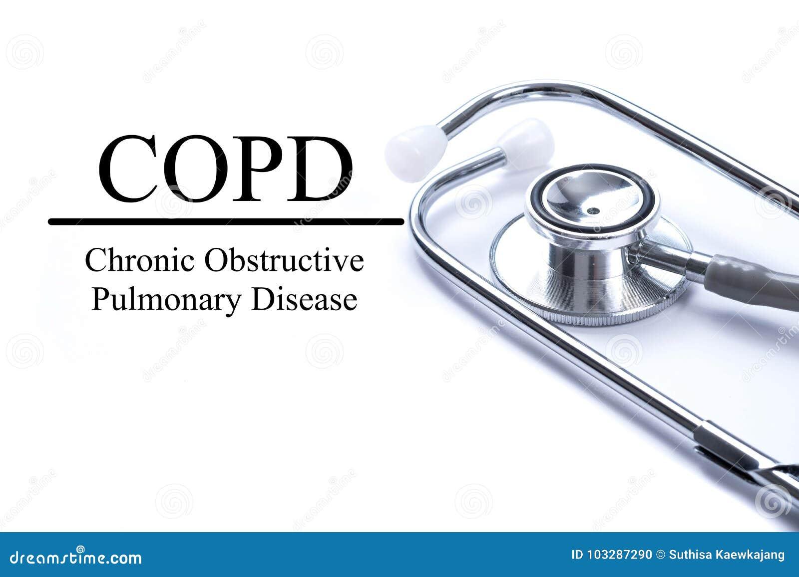 Pagina con la malattia polmonare ostruttiva cronica di COPD sui tum