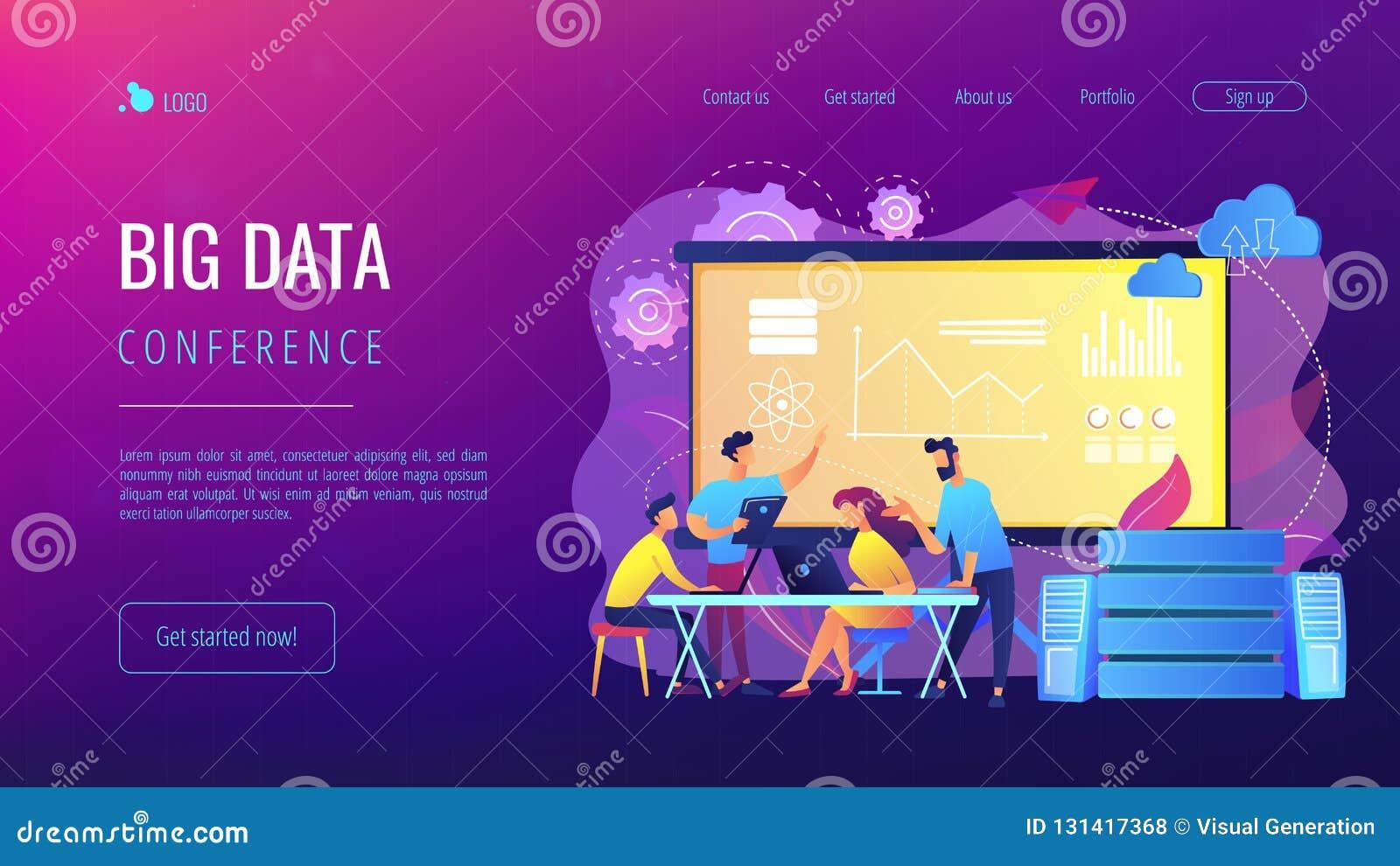 Pagina d atterraggio del grande conferenceconcept di dati