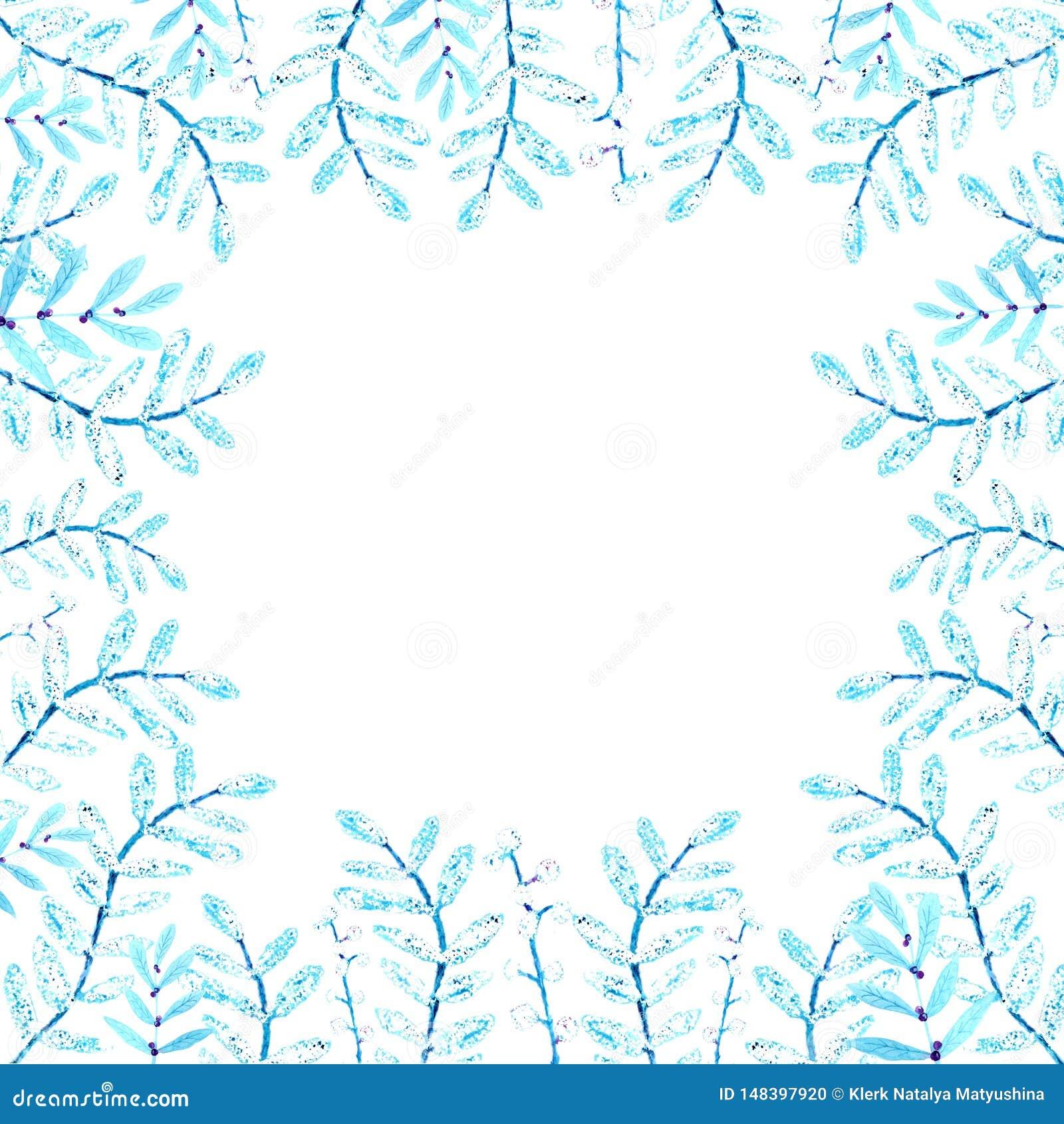 Pagina dei fiori e dei ramoscelli Disegno dell acquerello, un modello delle foglie, su un fondo bianco per la progettazione degli