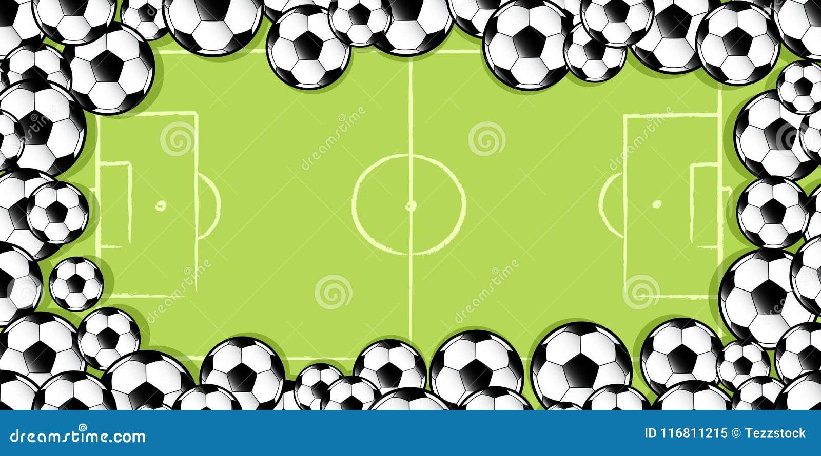 Pagina dei palloni da calcio sul passo di calcio