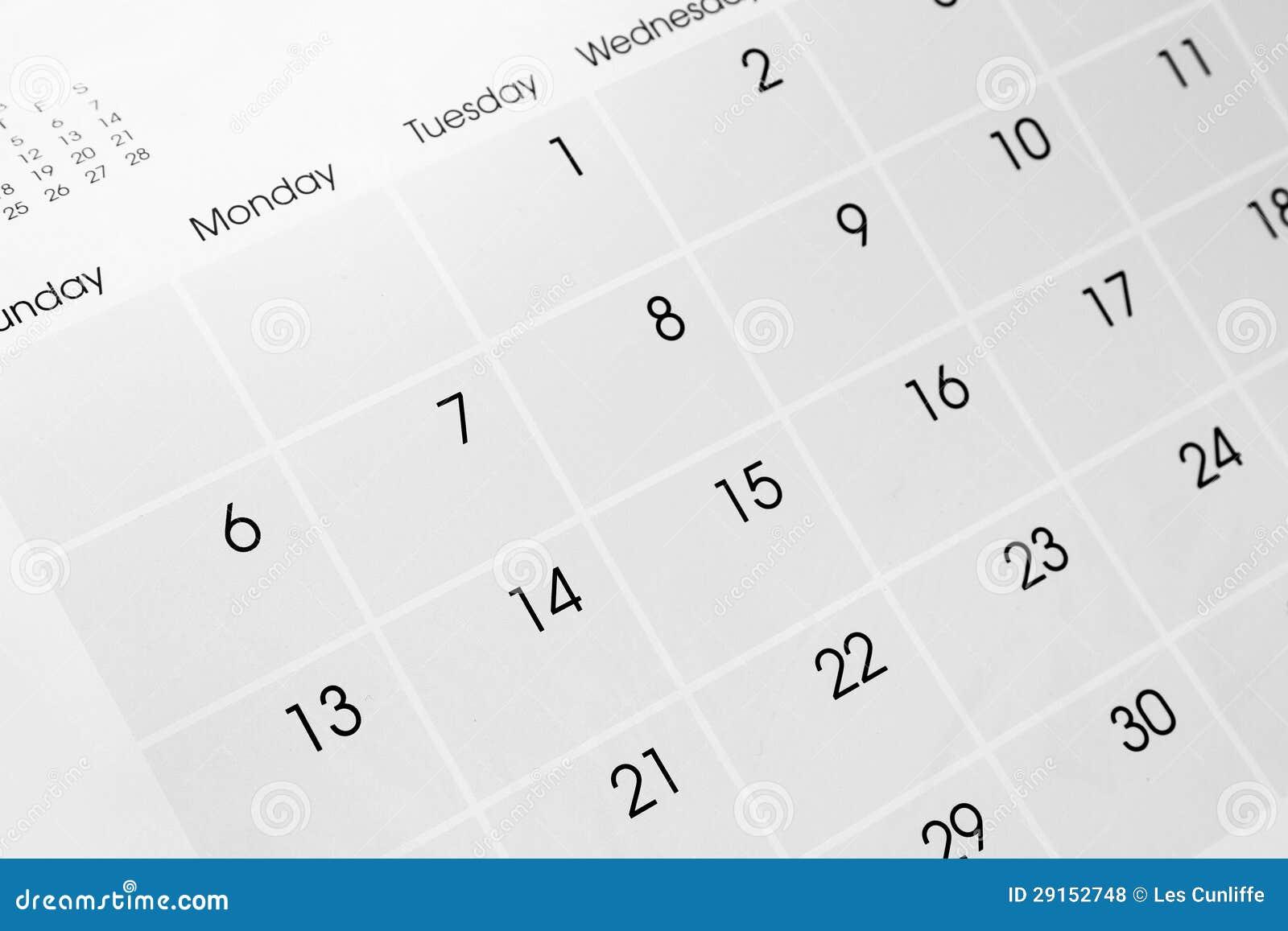 Pagina del calendario
