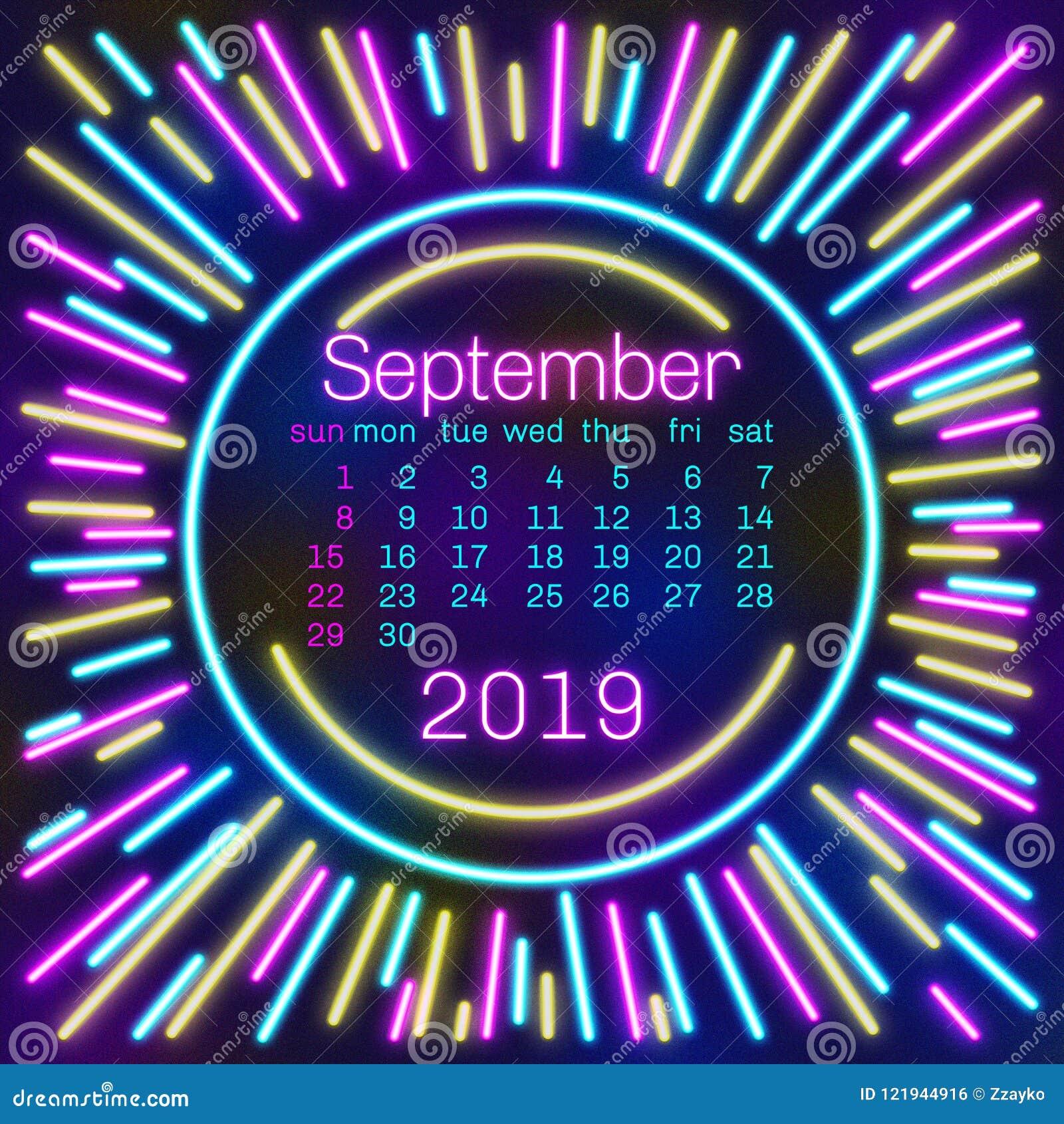 Pagina Di Calendario Settembre 2019.2019 Pagina Del Calendario Di Settembre In Manifesto Al Neon