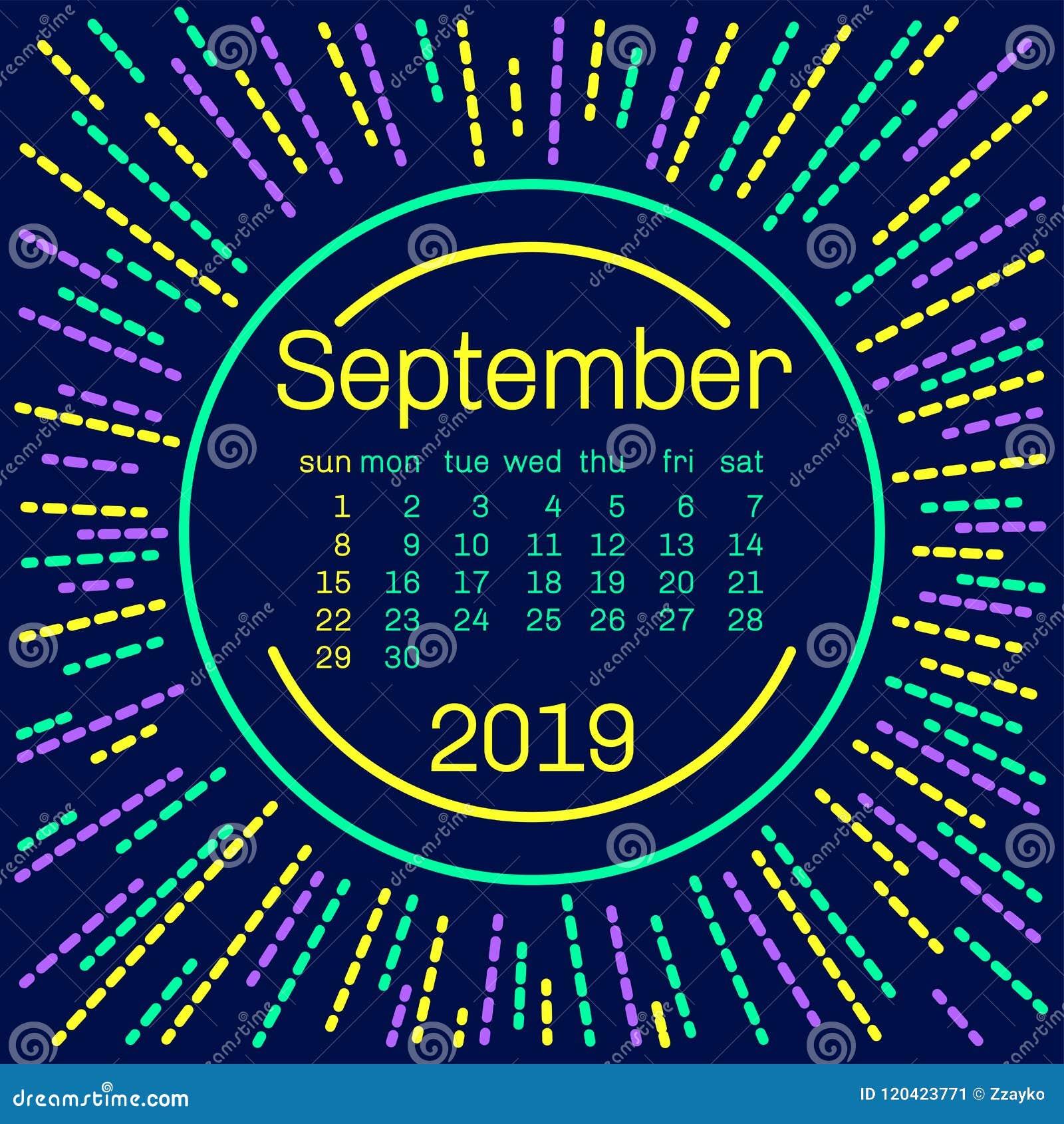 Pagina Di Calendario Settembre 2019.2019 Pagina Del Calendario Di Settembre In Manifesto Di