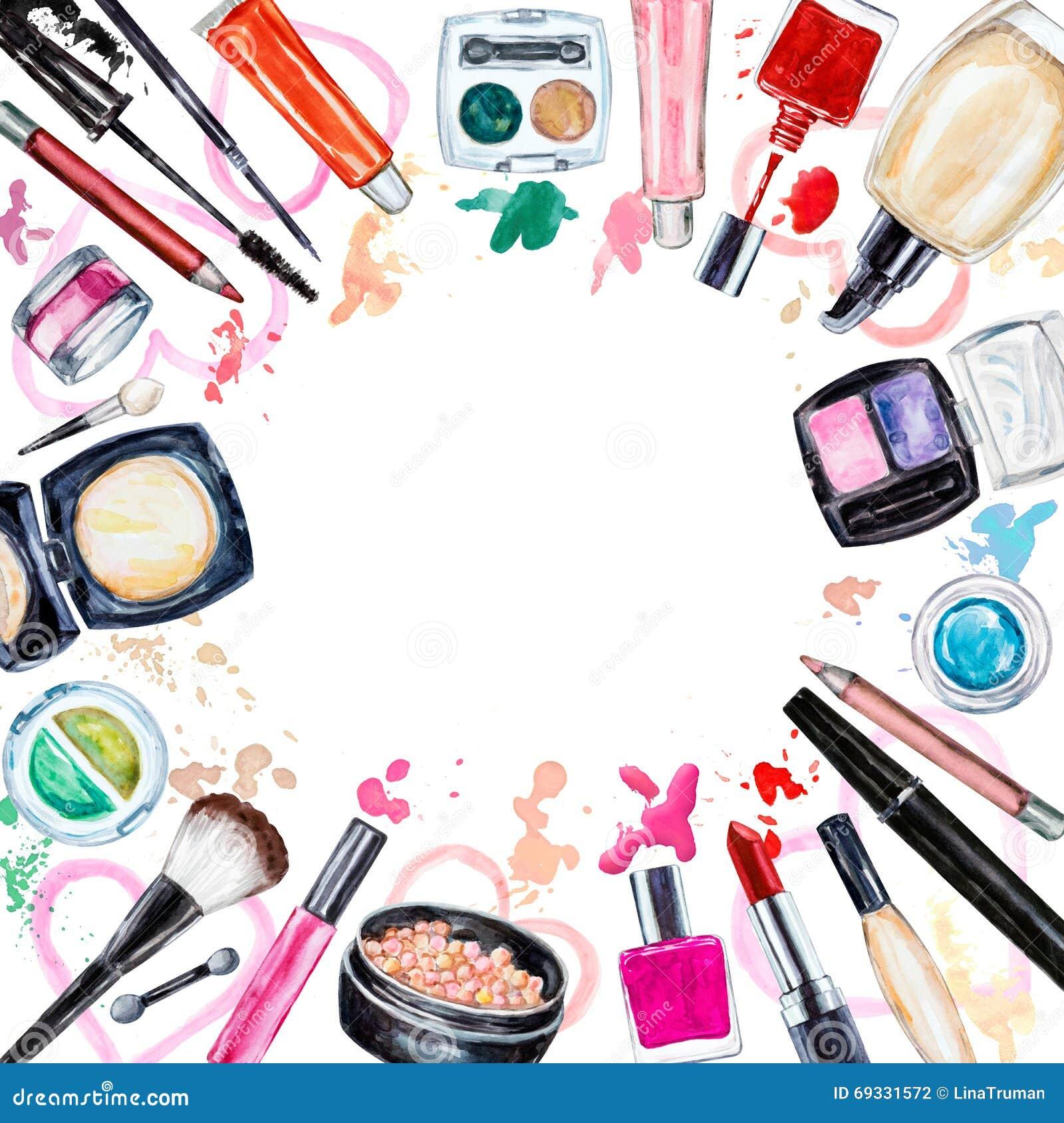 Pagina del cosmetico decorativo del vario acquerello Prodotti di bellezza