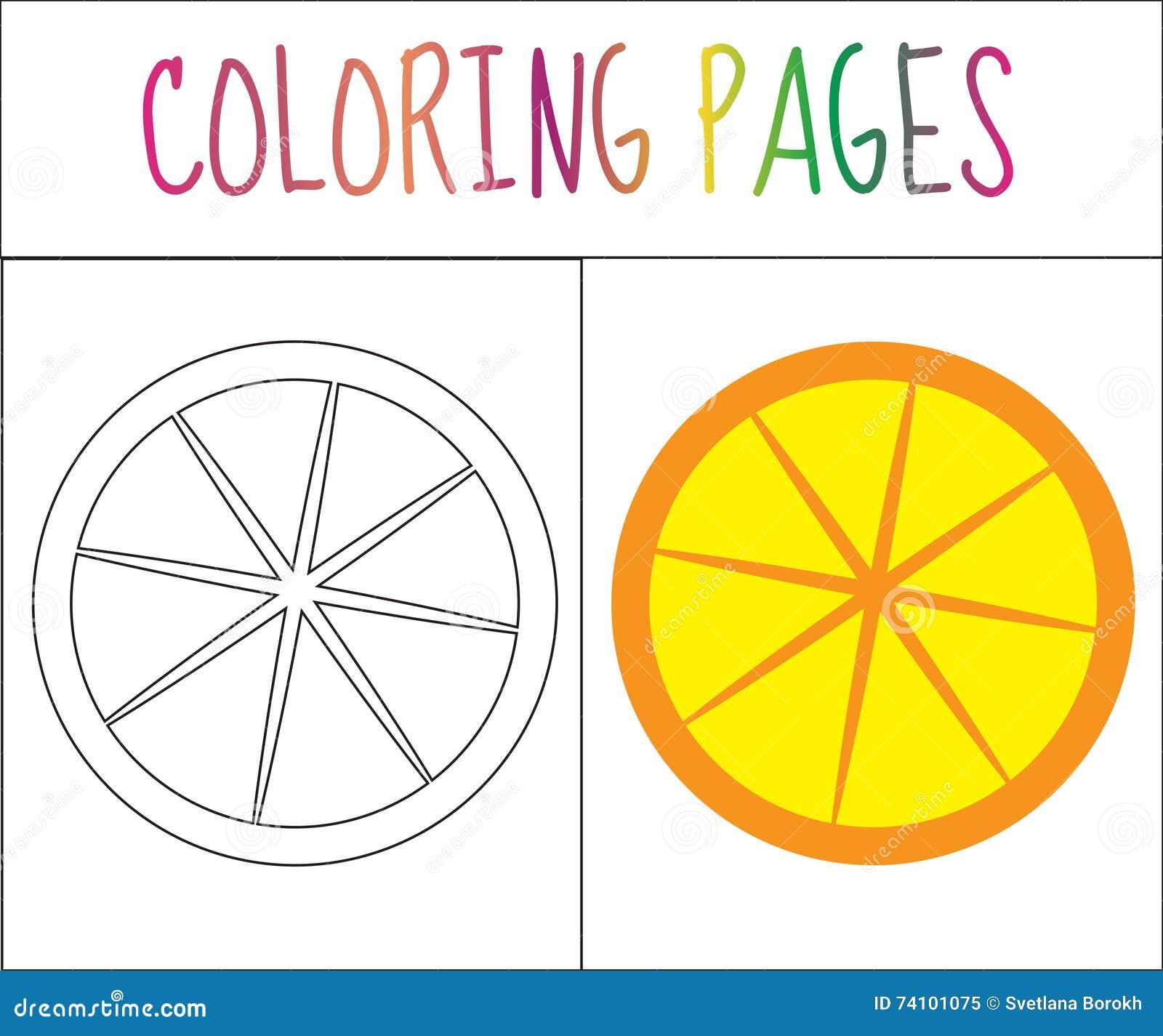 Pagina Del Libro Da Colorare Arancio Versione Di Colore E Di Schizzo