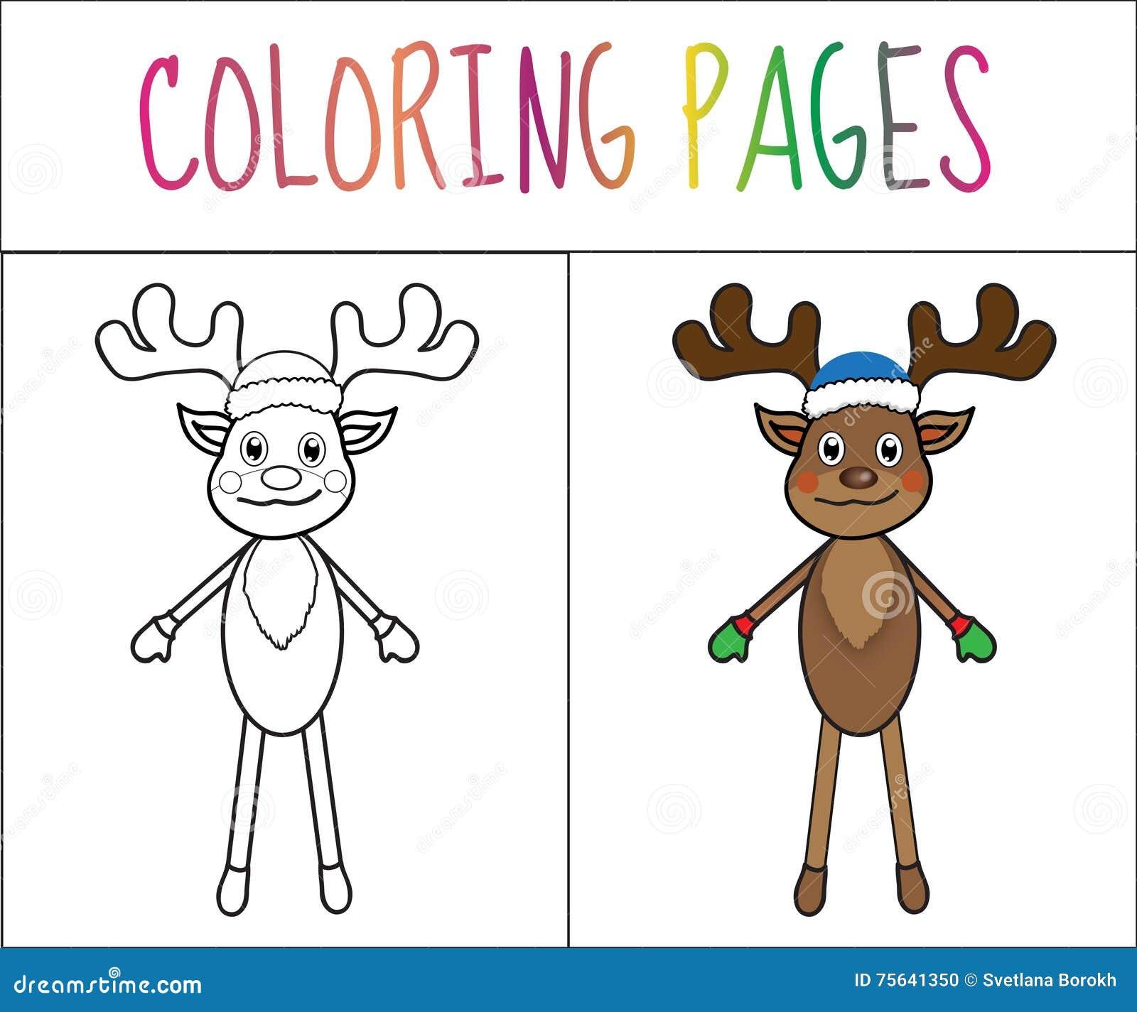 Pagina Del Libro Da Colorare Cervo Nuovo Anno Natale Versione Di
