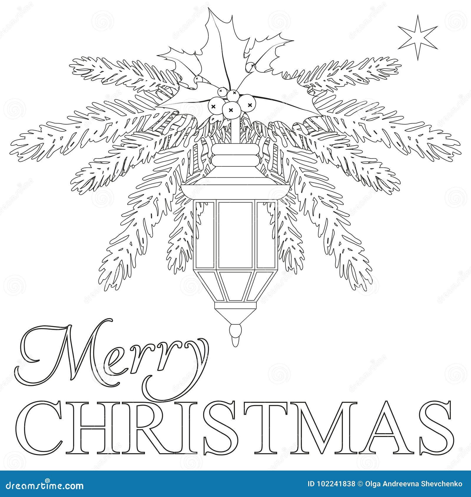 Pagina Del Libro Da Colorare Di Buon Natale Illustrazione Vettoriale Illustrazione Di Allegro Lampada 102241838