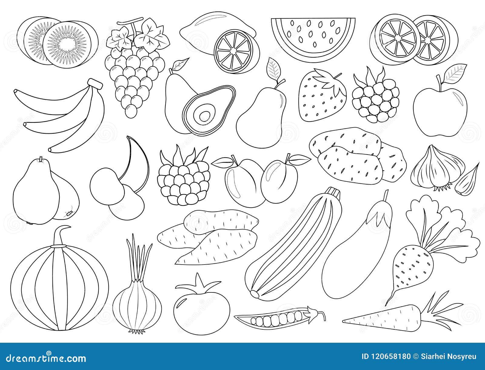 Pagina Del Libro Da Colorare Frutti Bacche E Fumetto Delle Verdure Illustrazione Vettoriale Illustrazione Di Fumetto Melanzana 120658180