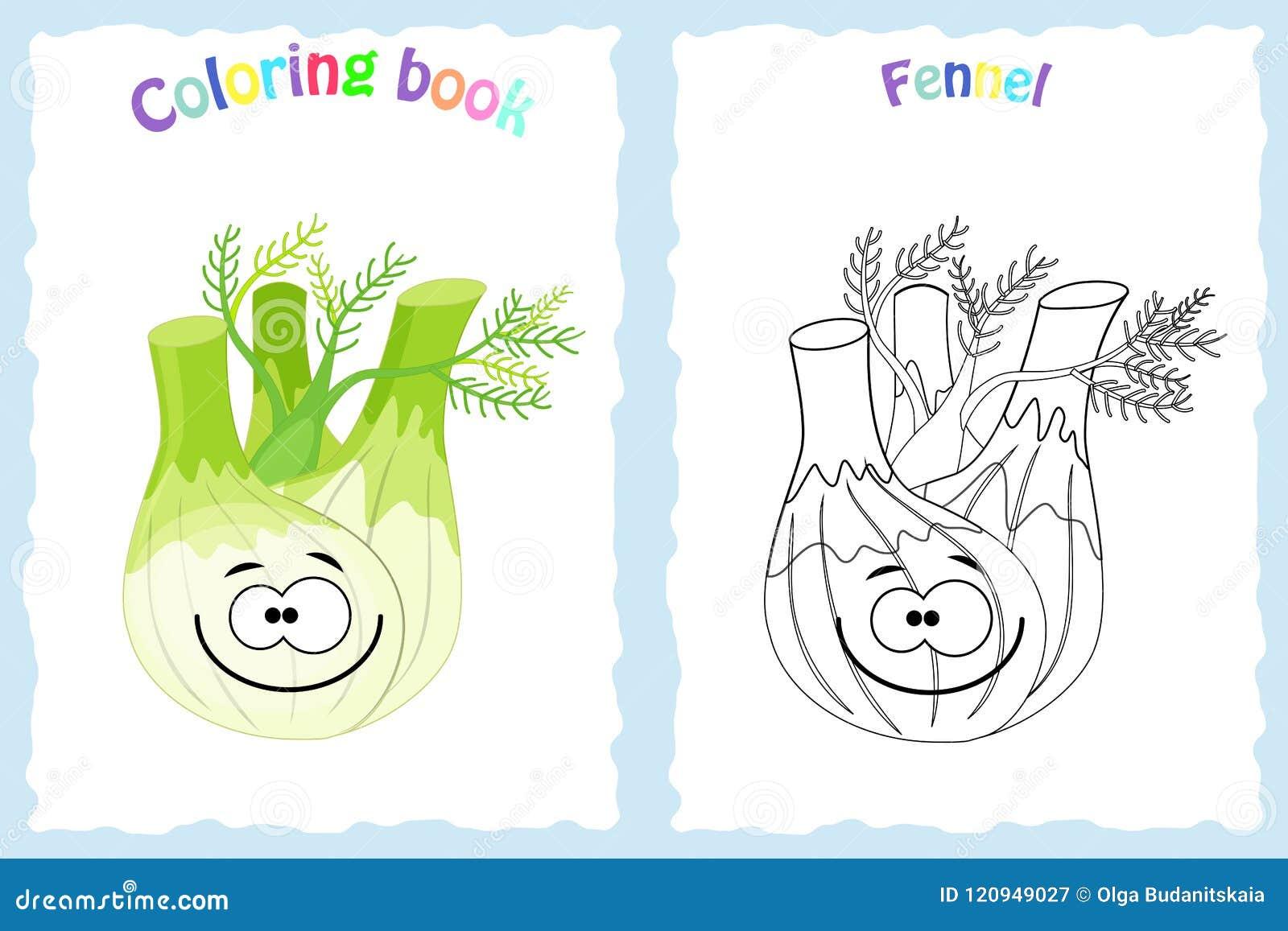 Pagina del libro da colorare per i bambini con finocchio - Libro da colorare elefante libro ...