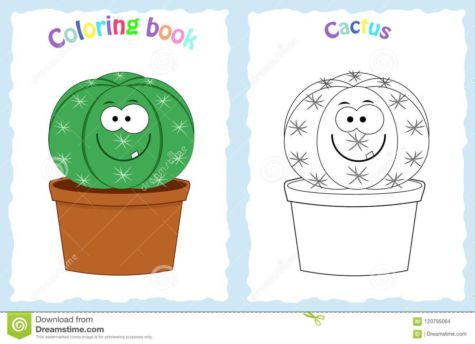 Pagina Del Libro Da Colorare Per I Bambini Con Il Cactus Variopinto