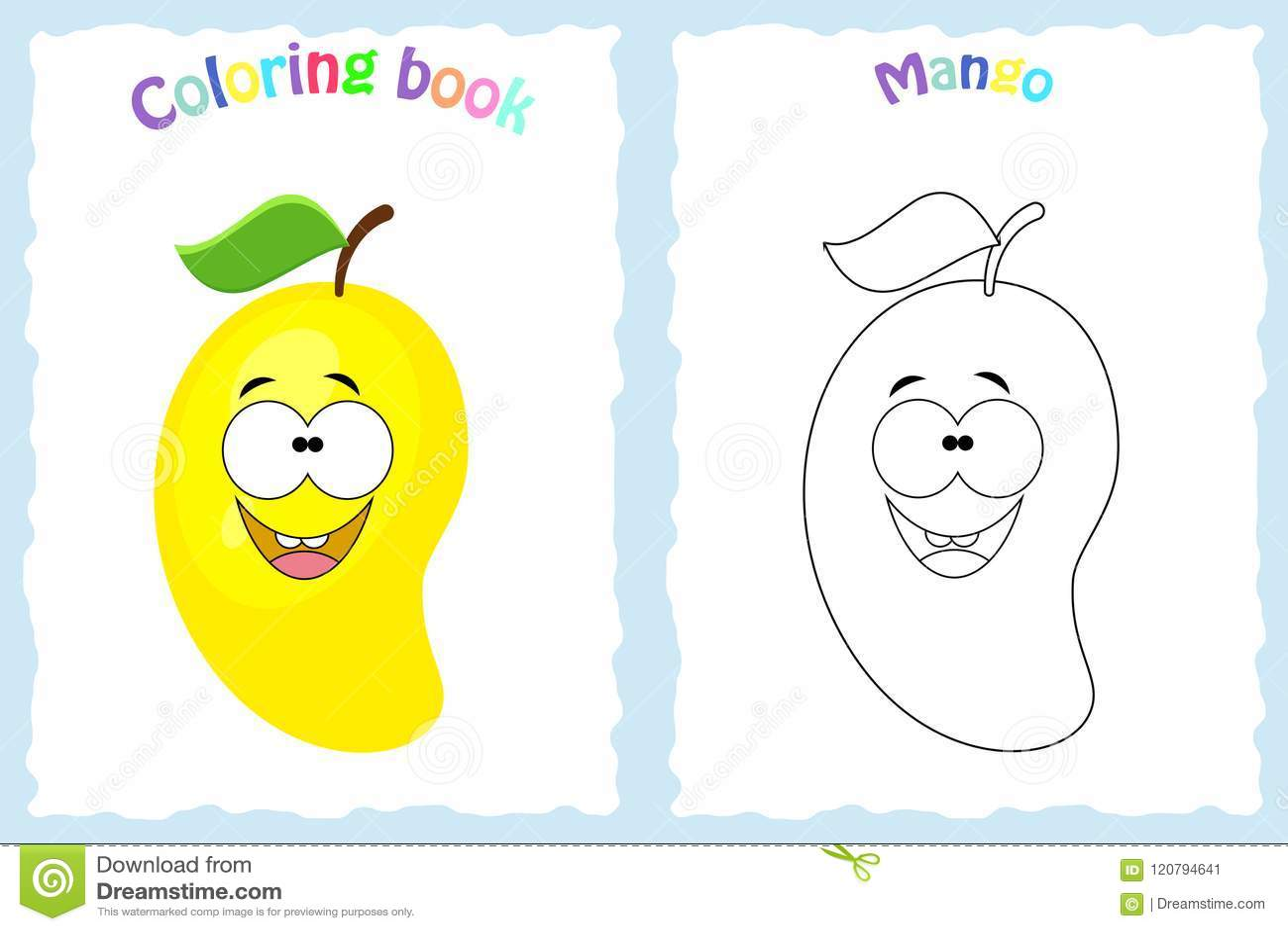 Pagina Del Libro Da Colorare Per I Bambini Con Il Mango Variopinto E
