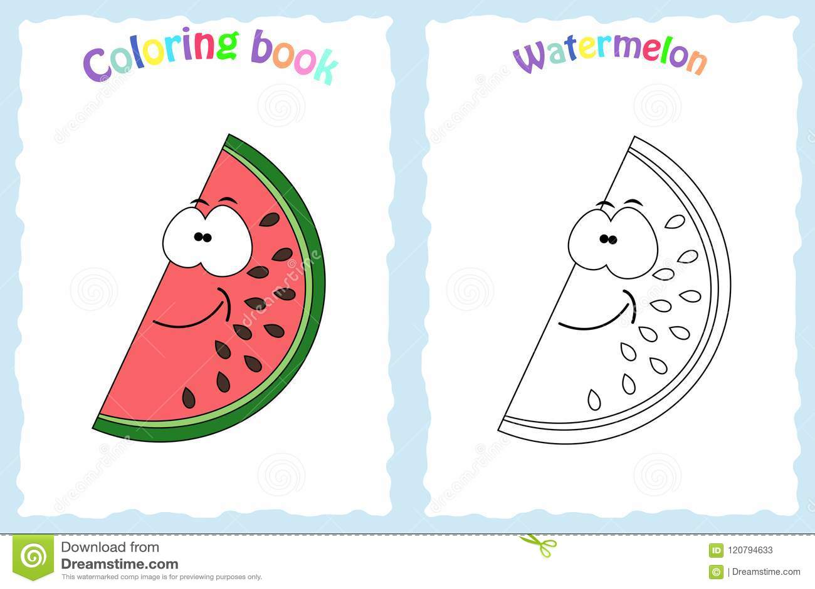 Pagina Del Libro Da Colorare Per I Bambini Con L Anguria Variopinta
