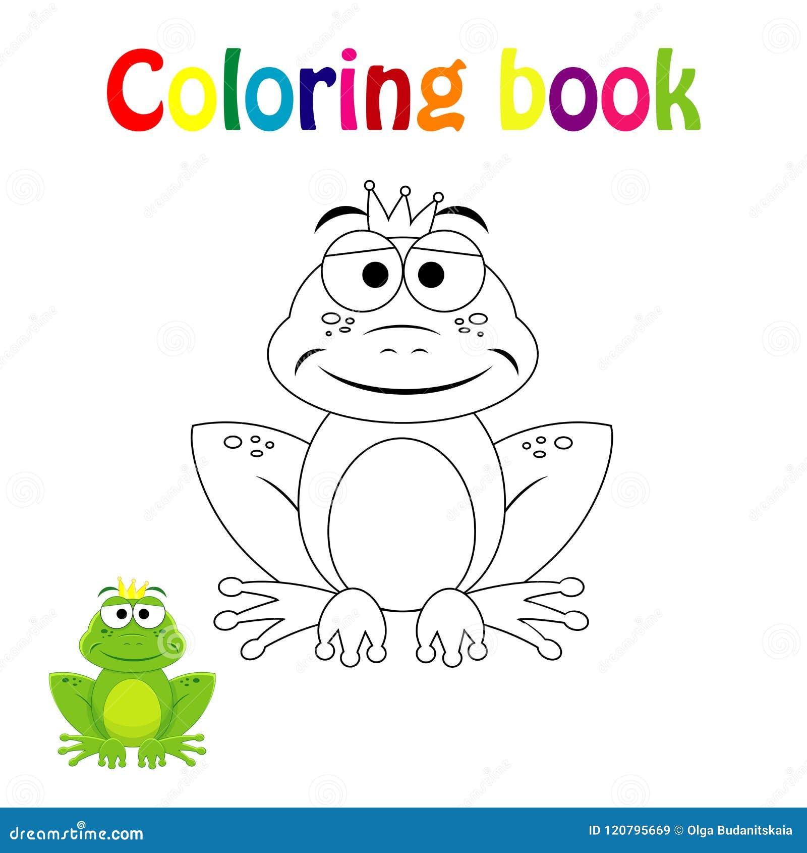 Pagina Del Libro Da Colorare Per I Bambini Con La Rana Variopinta Di