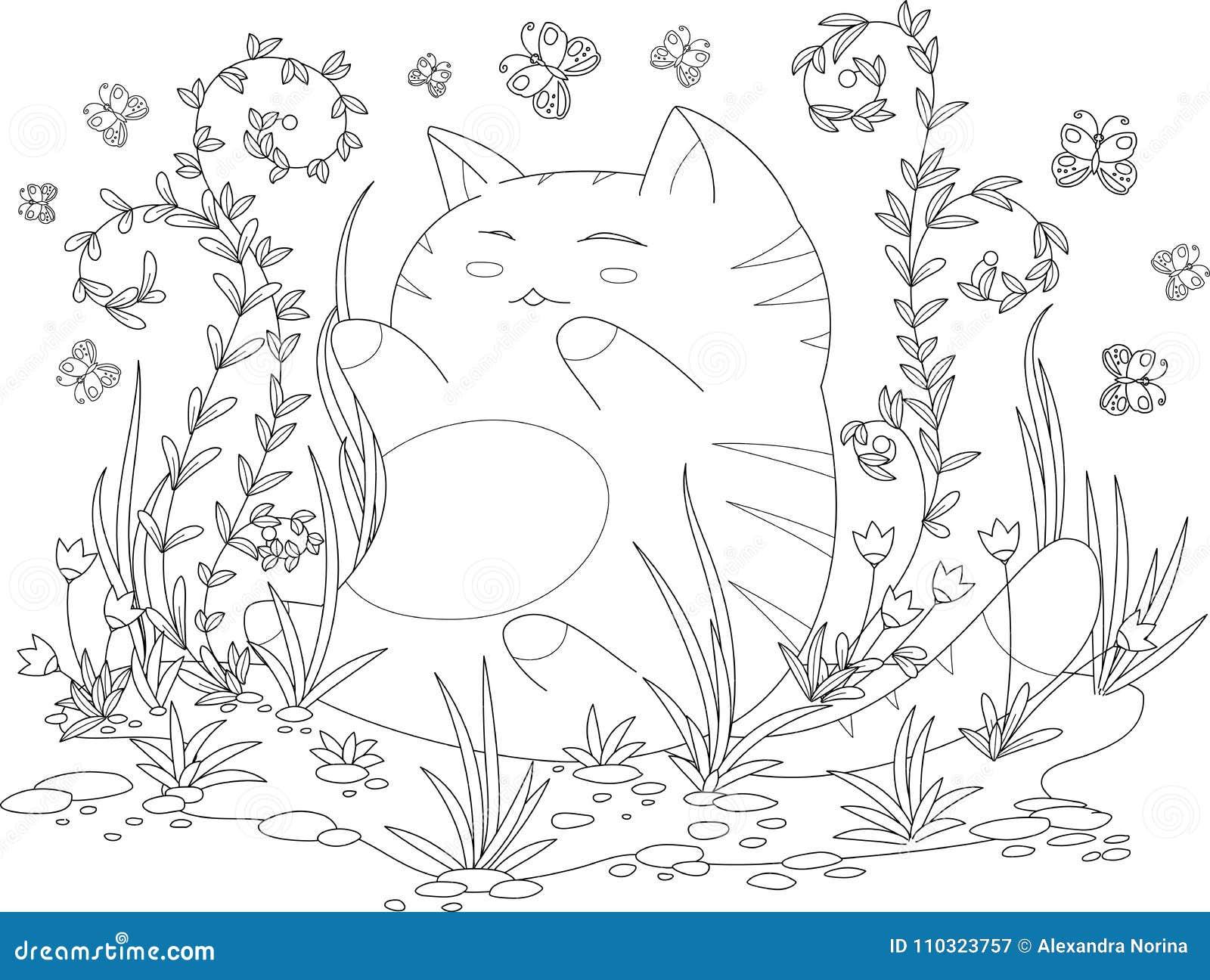 Pagina Del Libro Da Colorare Per Ladulto Ed I Bambini Gattino