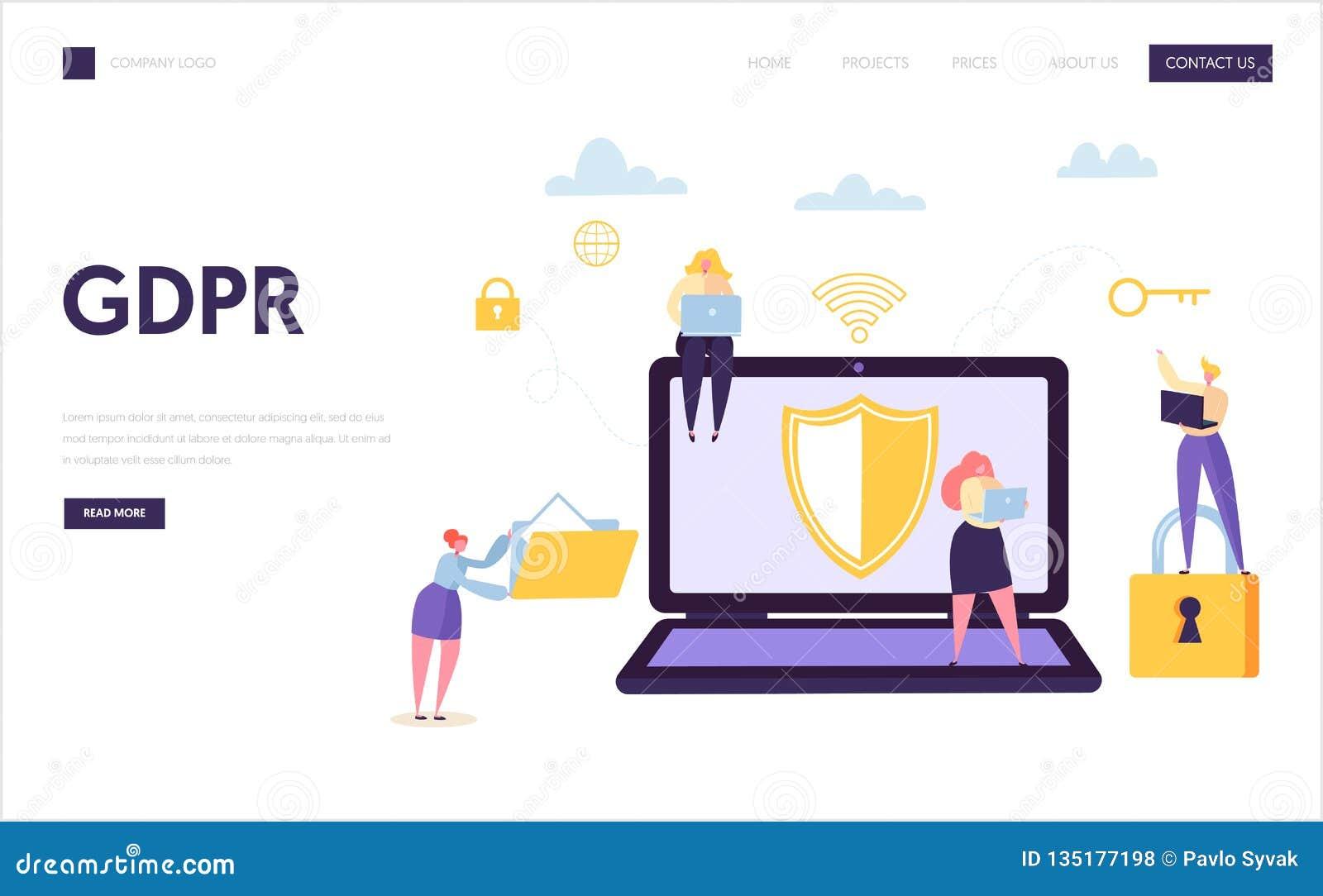 Pagina di atterraggio di sicurezza di Internet di dati di web Protezione di tecnologia di informazioni di Digital GDPR Carattere