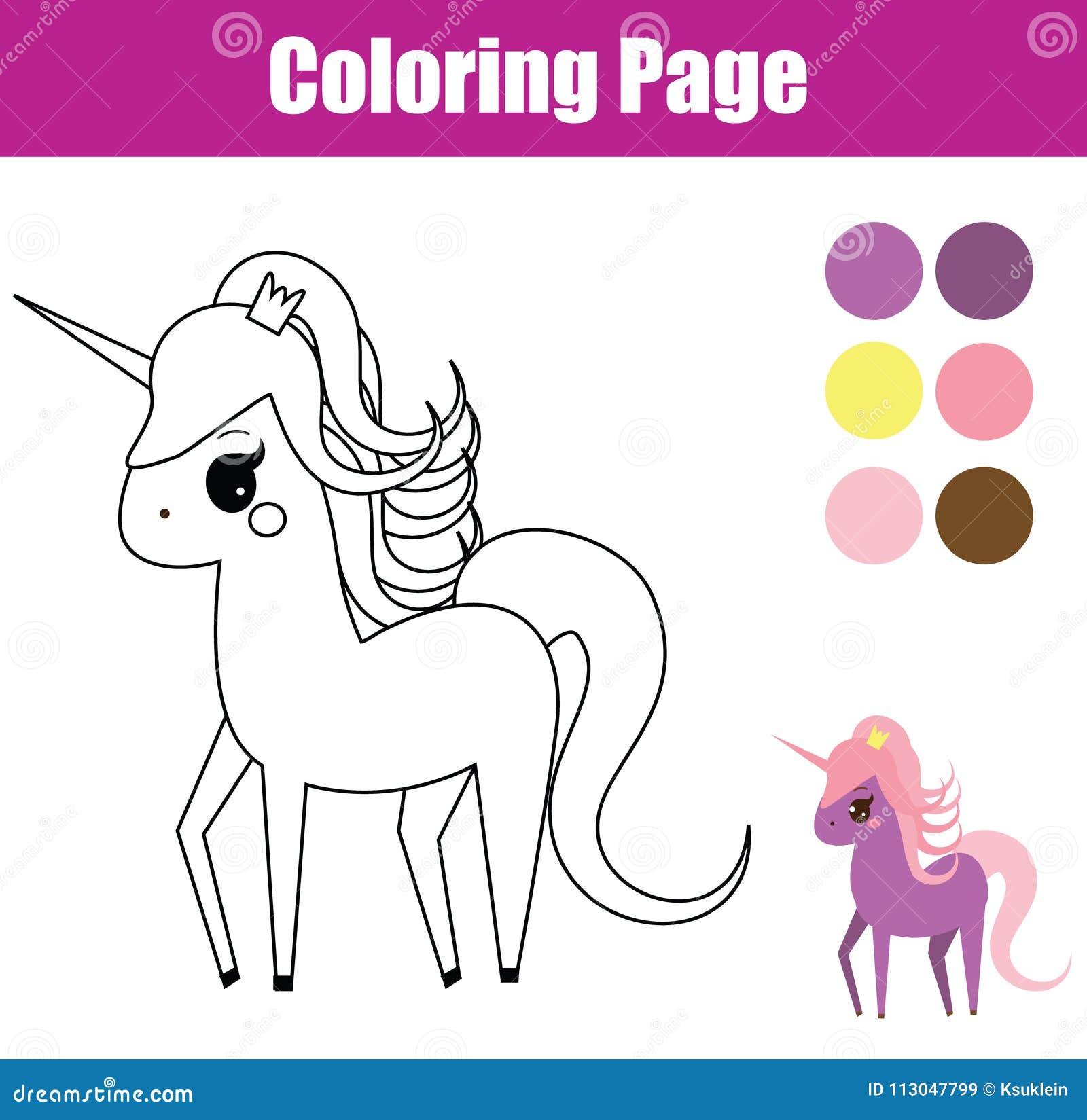 Pagina Di Coloritura Gioco Educativo Dei Bambini Unicorno Cavallino