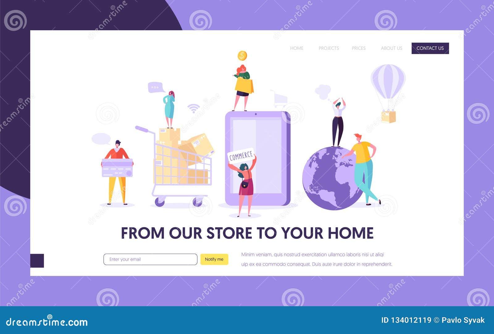 Pagina di compera globale di atterraggio del deposito di commercio elettronico Negozio della donna online facendo uso di Smartpho