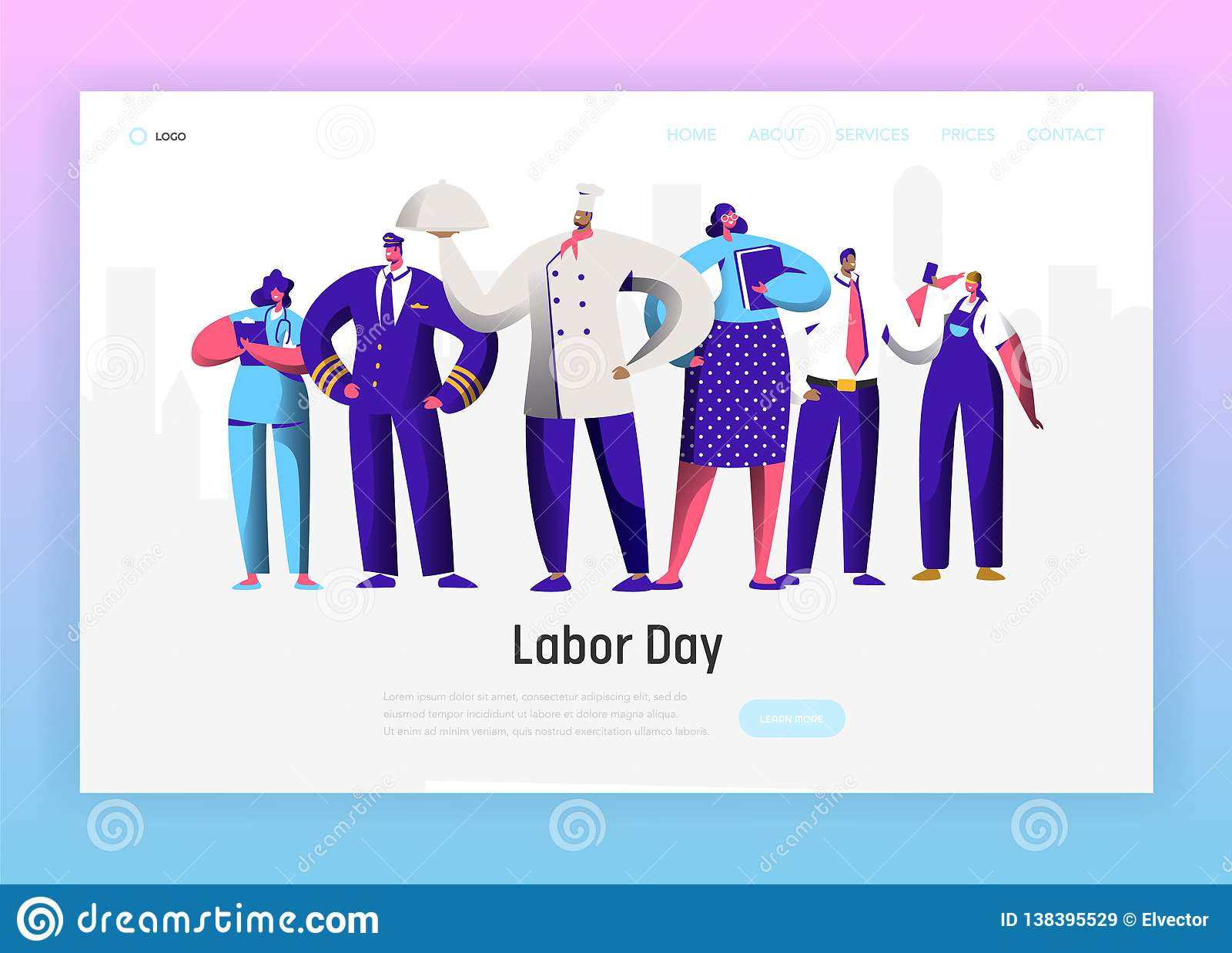 Pagina differente di atterraggio del gruppo del carattere di professione di festa del lavoro Uomo e donna nazionali di celebrazio